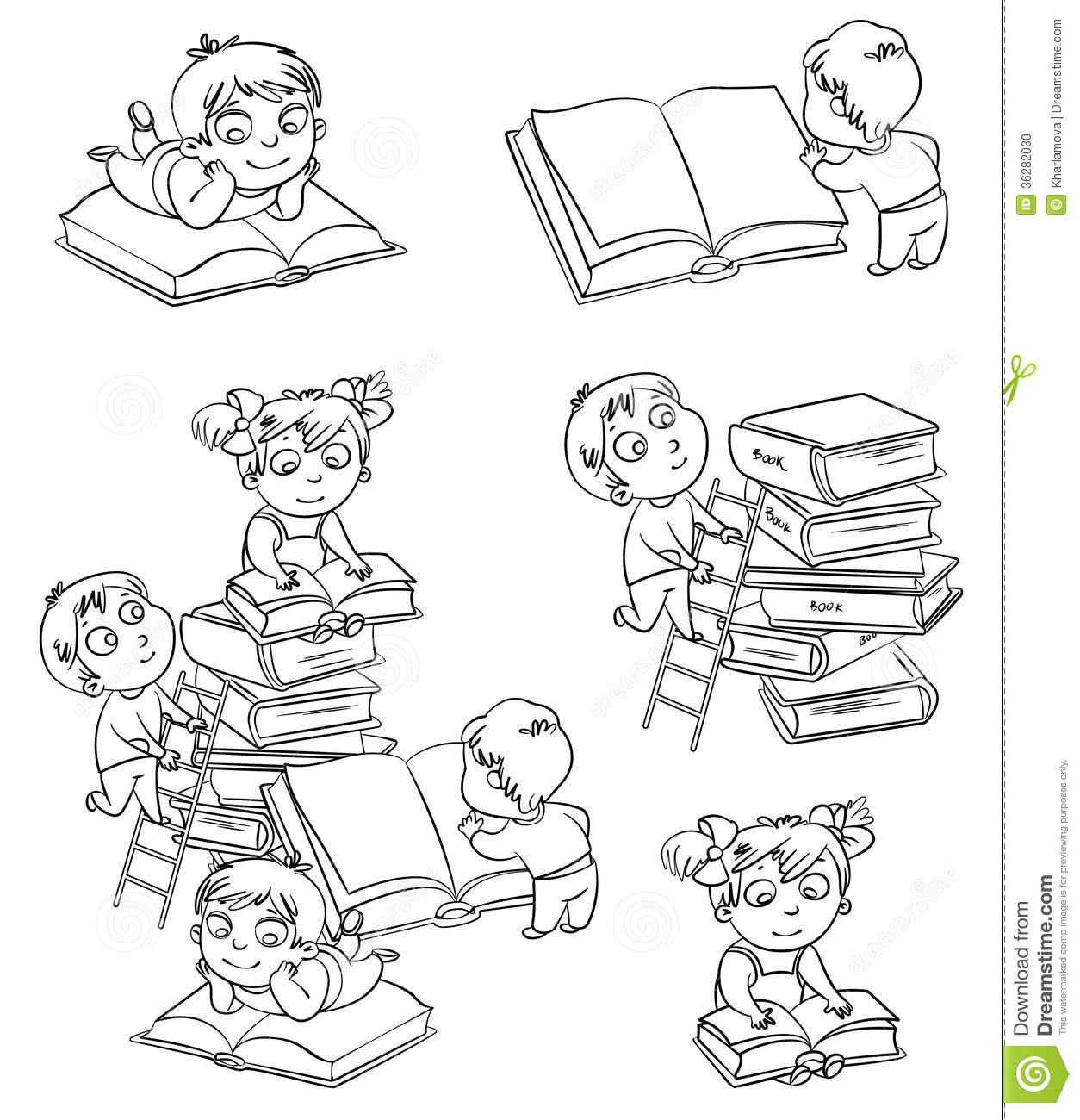 Children Reading Books In The Library Coloring Book Stock