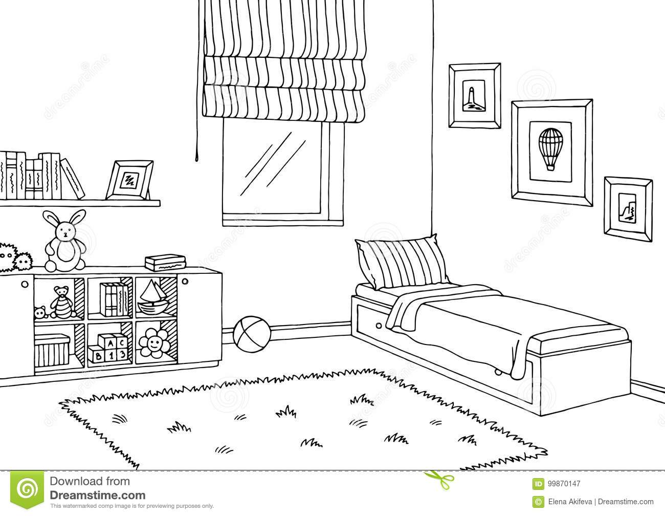 Children Room Graphic Black White Interior Sketch