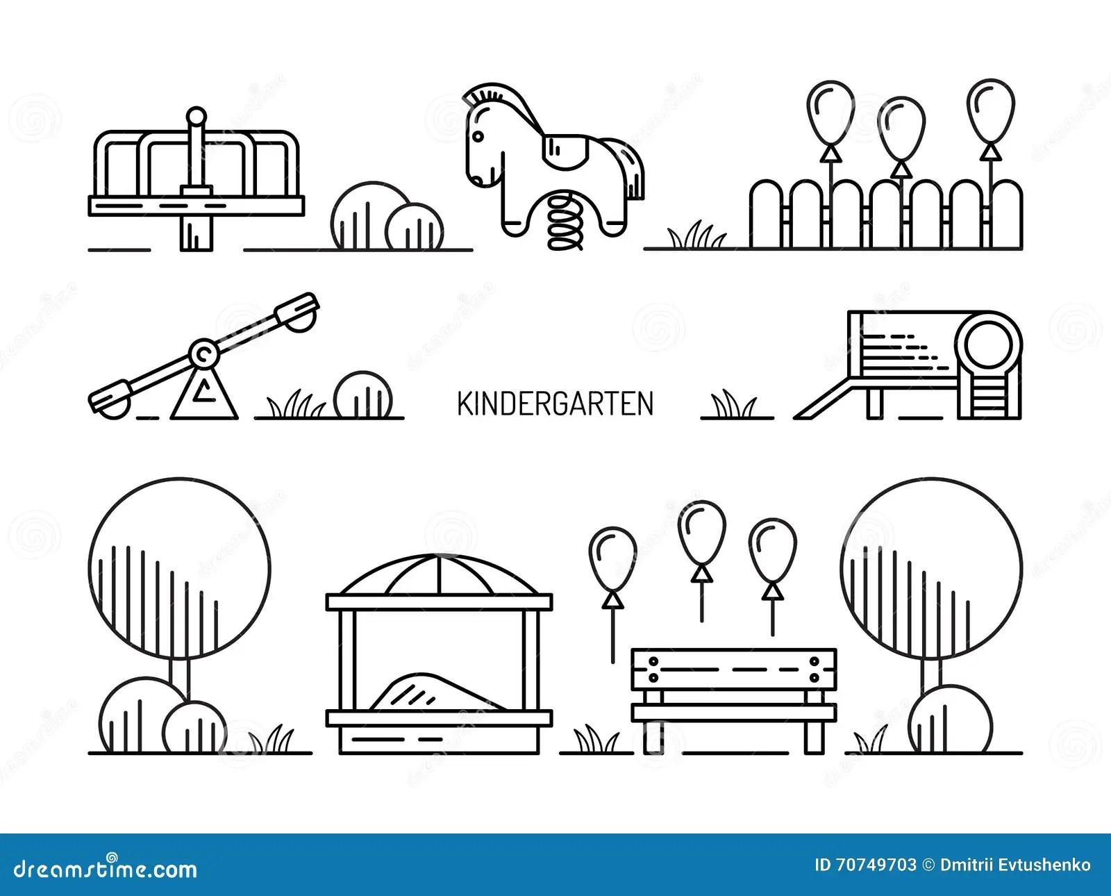 Children S Playground Kindergarten Stock Illustration