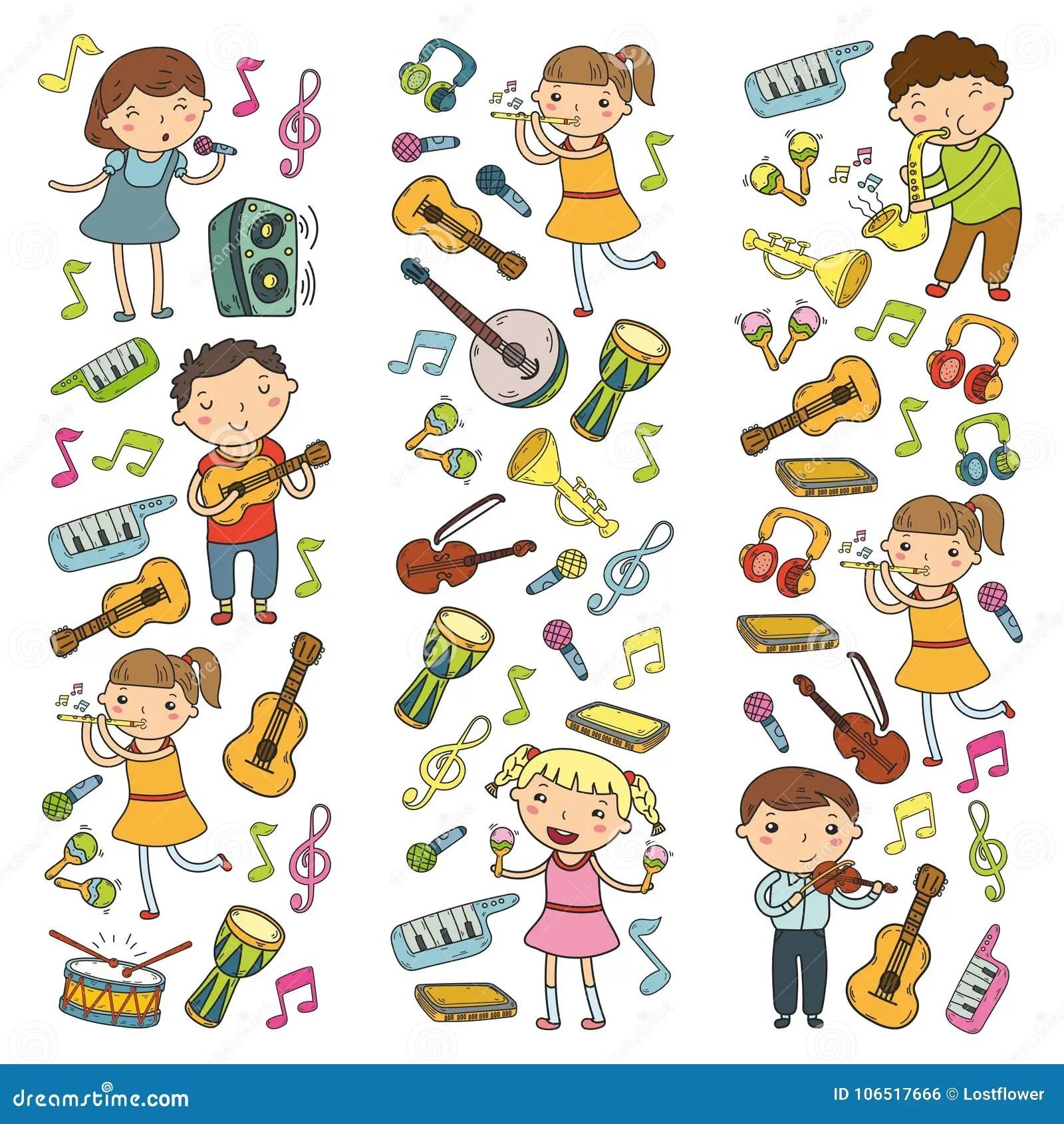 Music School For Kids Vector Illustration Children Singing