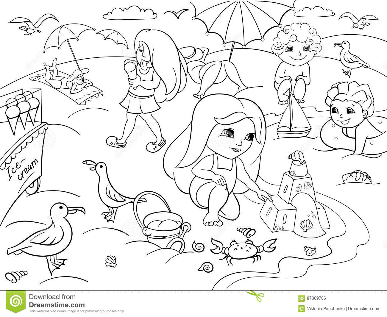 Sketch Of Cartoon Beach Coloring Pages