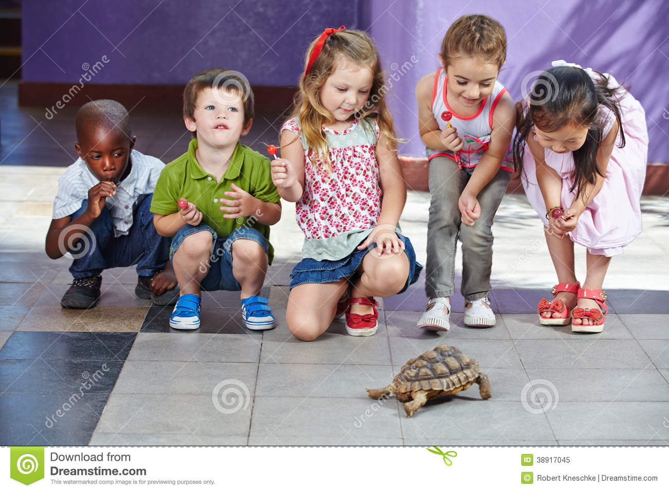 Children With Turtle As Pet Stock Image