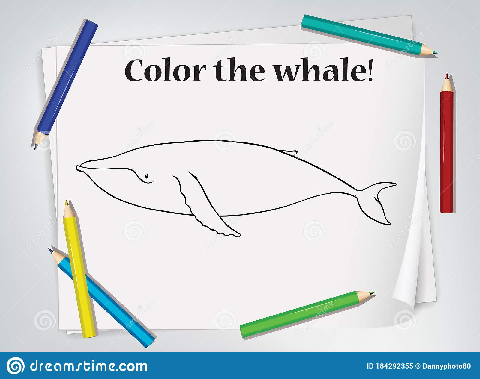 Children Whale Coloring Worksheet Stock Vector