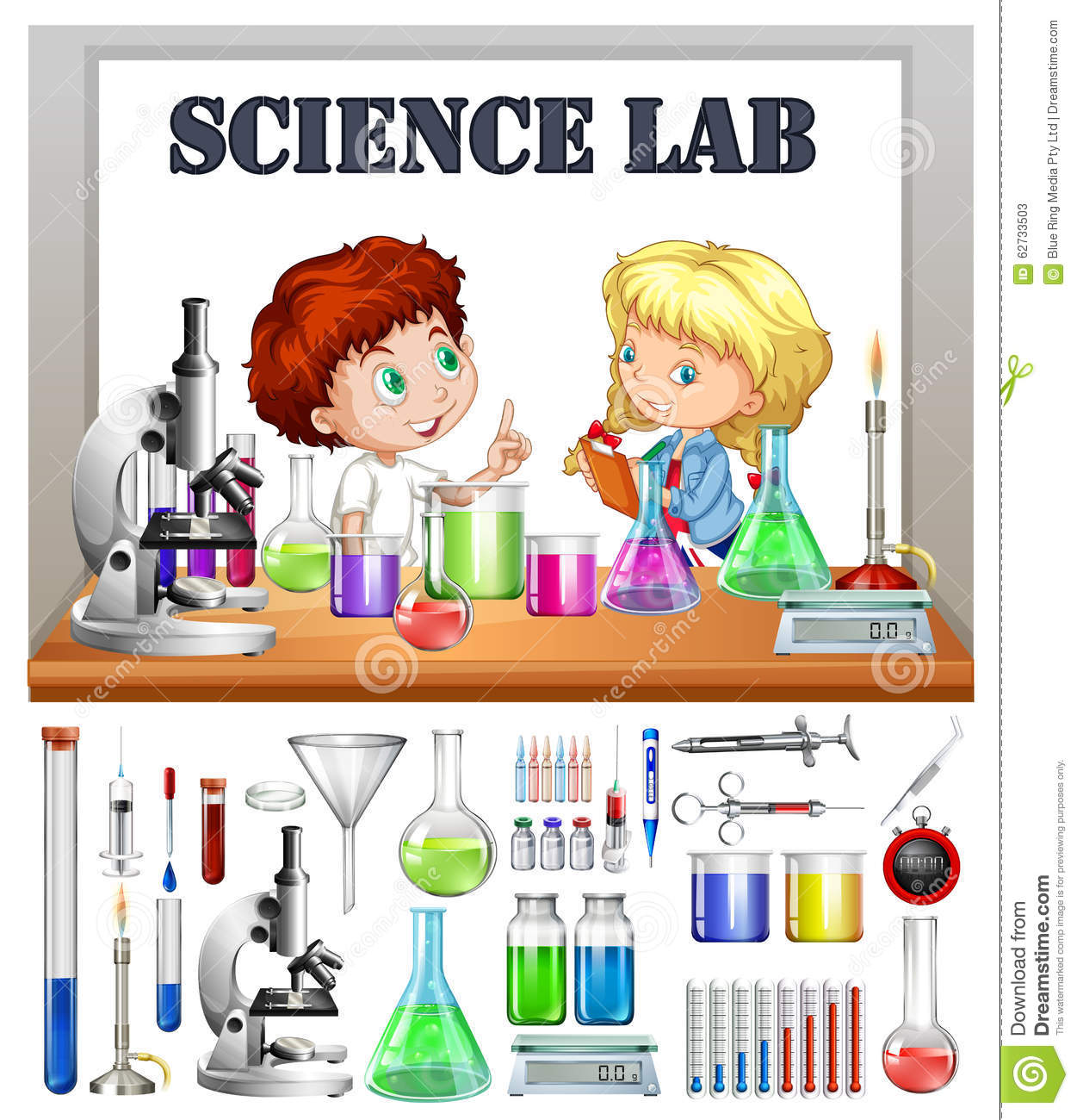 Children Working In The Science Lab Stock Vector