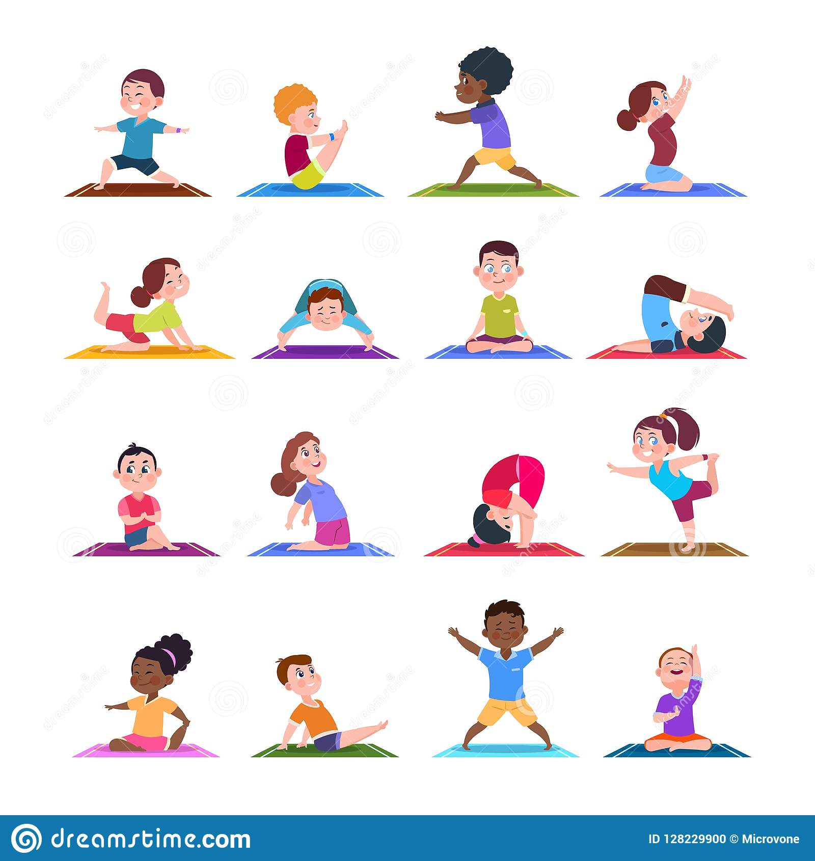 Children In Yoga Poses Cartoon Fitness Kids In Yoga Asana