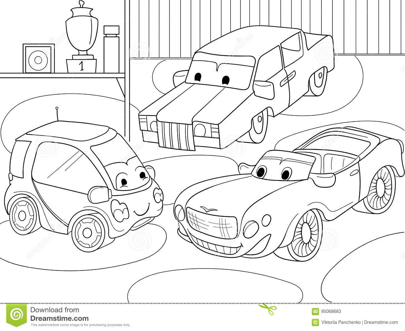 Childrens Cartoon Coloring Book For Boys Vector
