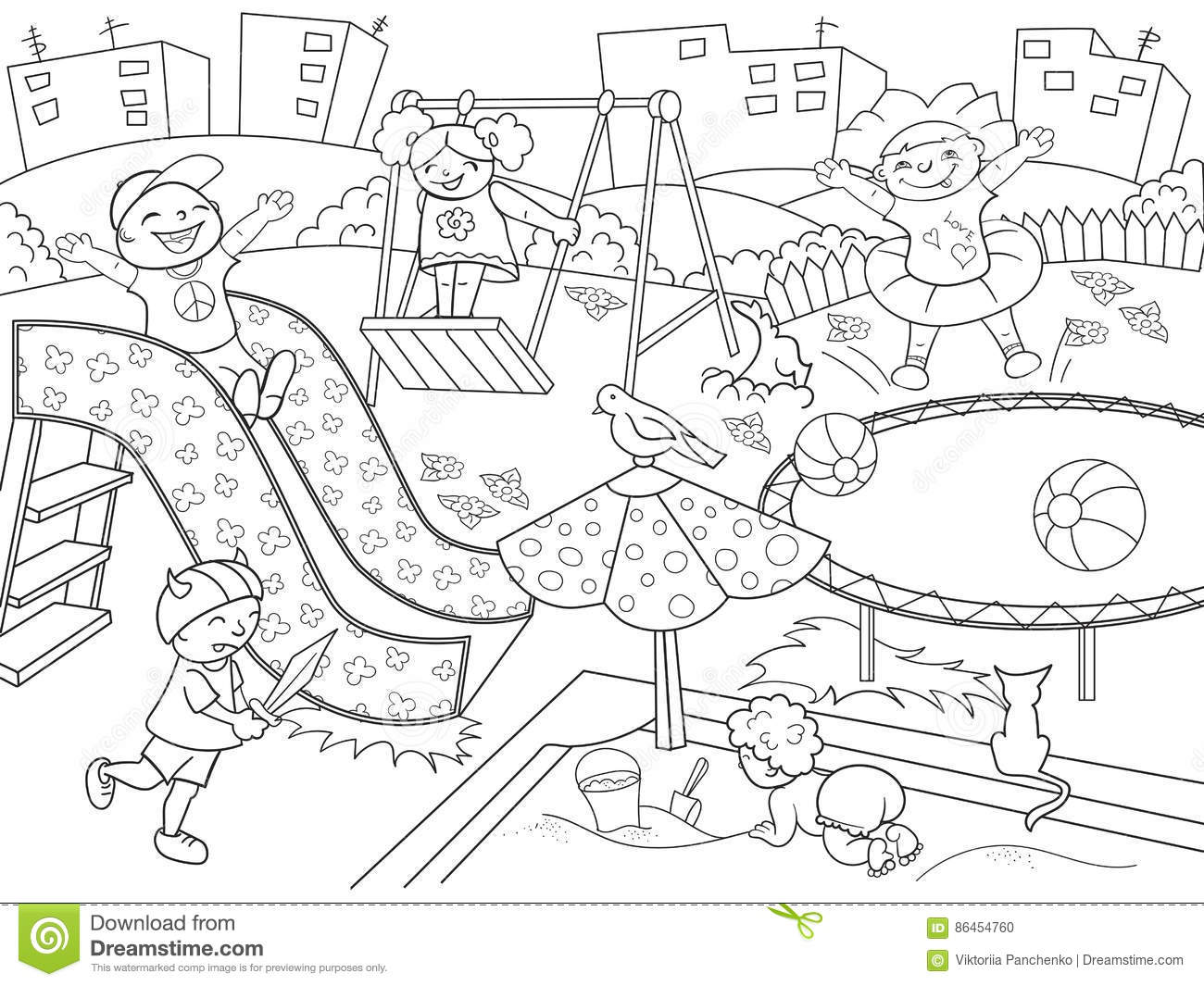 Childrens Playground Coloring Vector Illustration Of