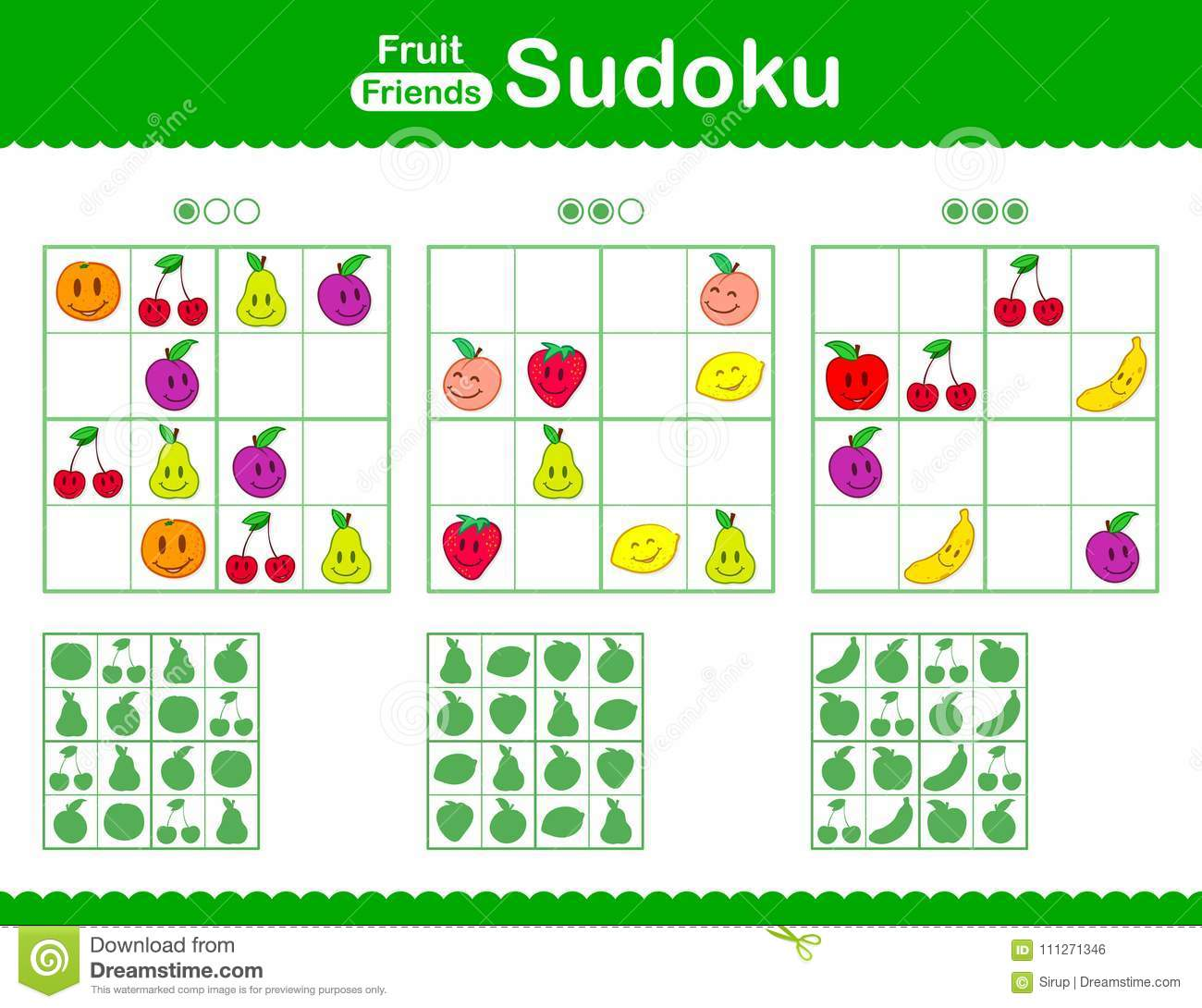 Childrens Sudoku Puzzle With Smiley Cartoon Fruit Stock