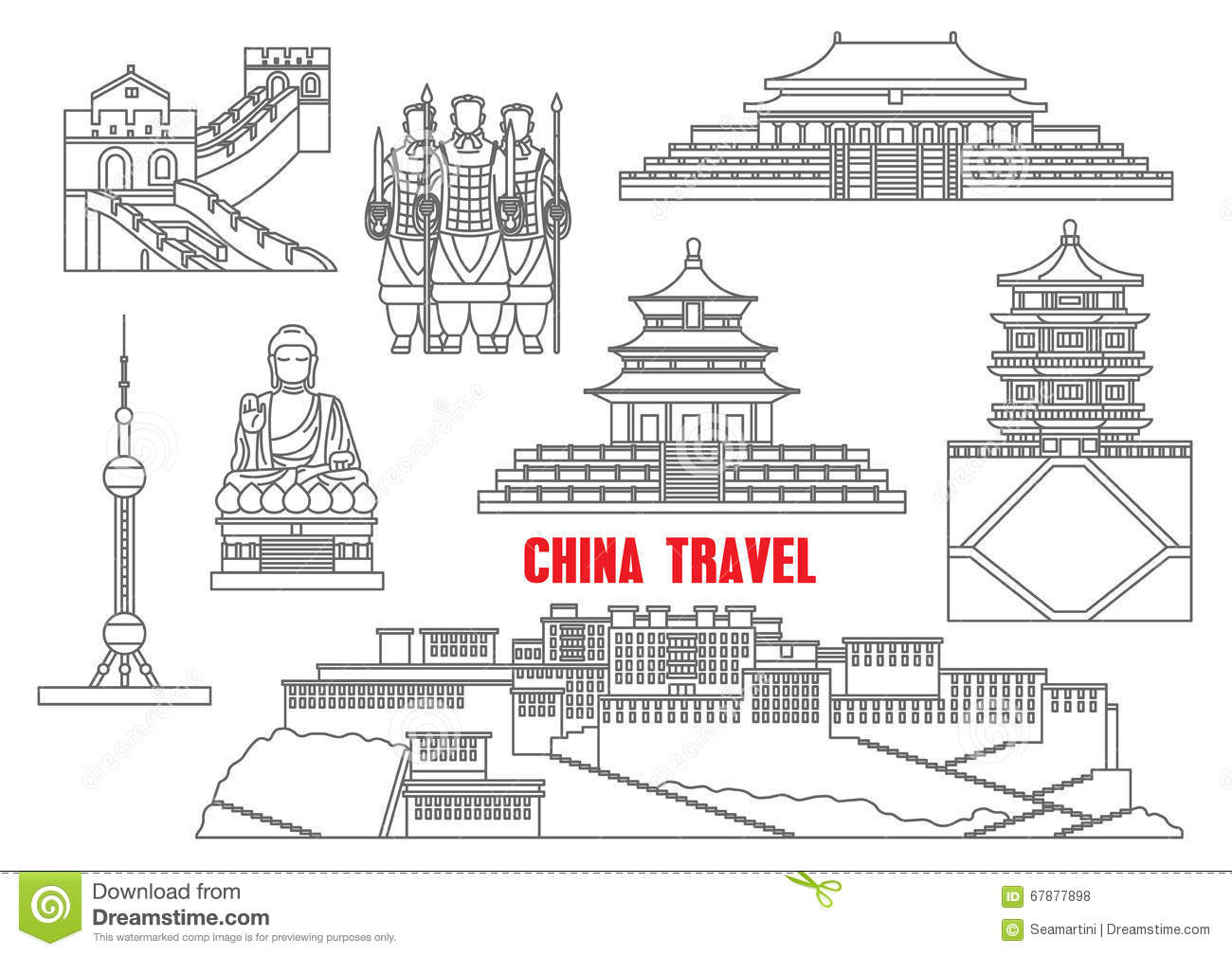 China Landmarks Thin Line Icons Stock Vector