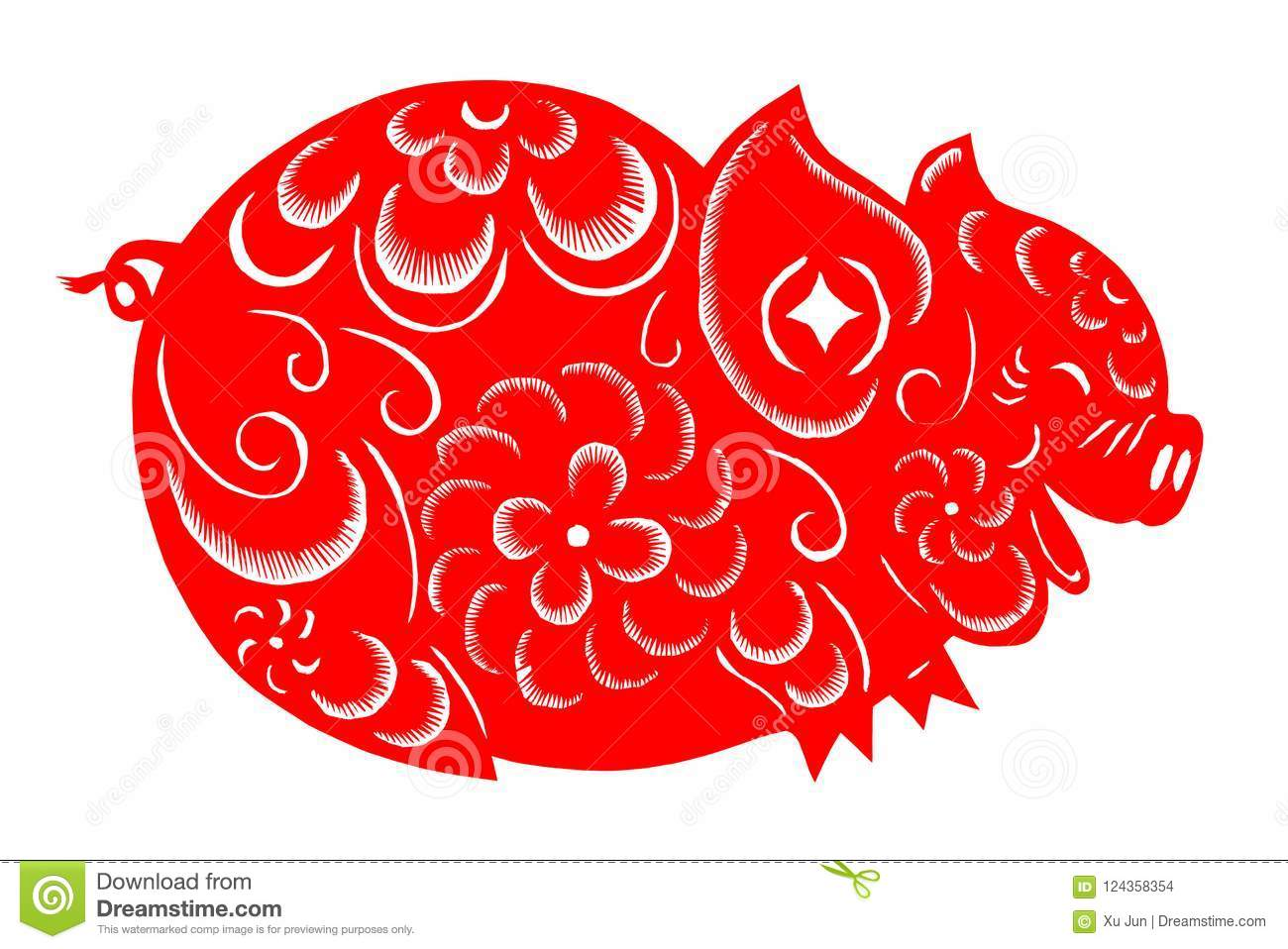 Zodiac Chinese Paper Cutting Pig Royalty Free Stock