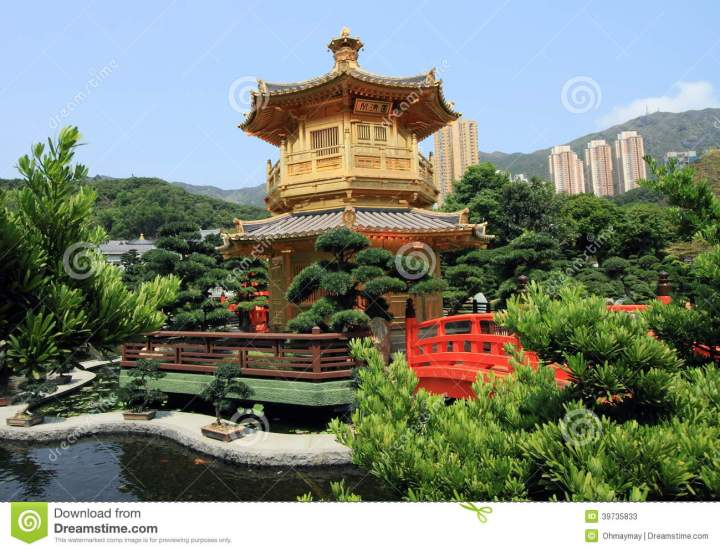 chinese garden at diamond hill, hong kong stock image