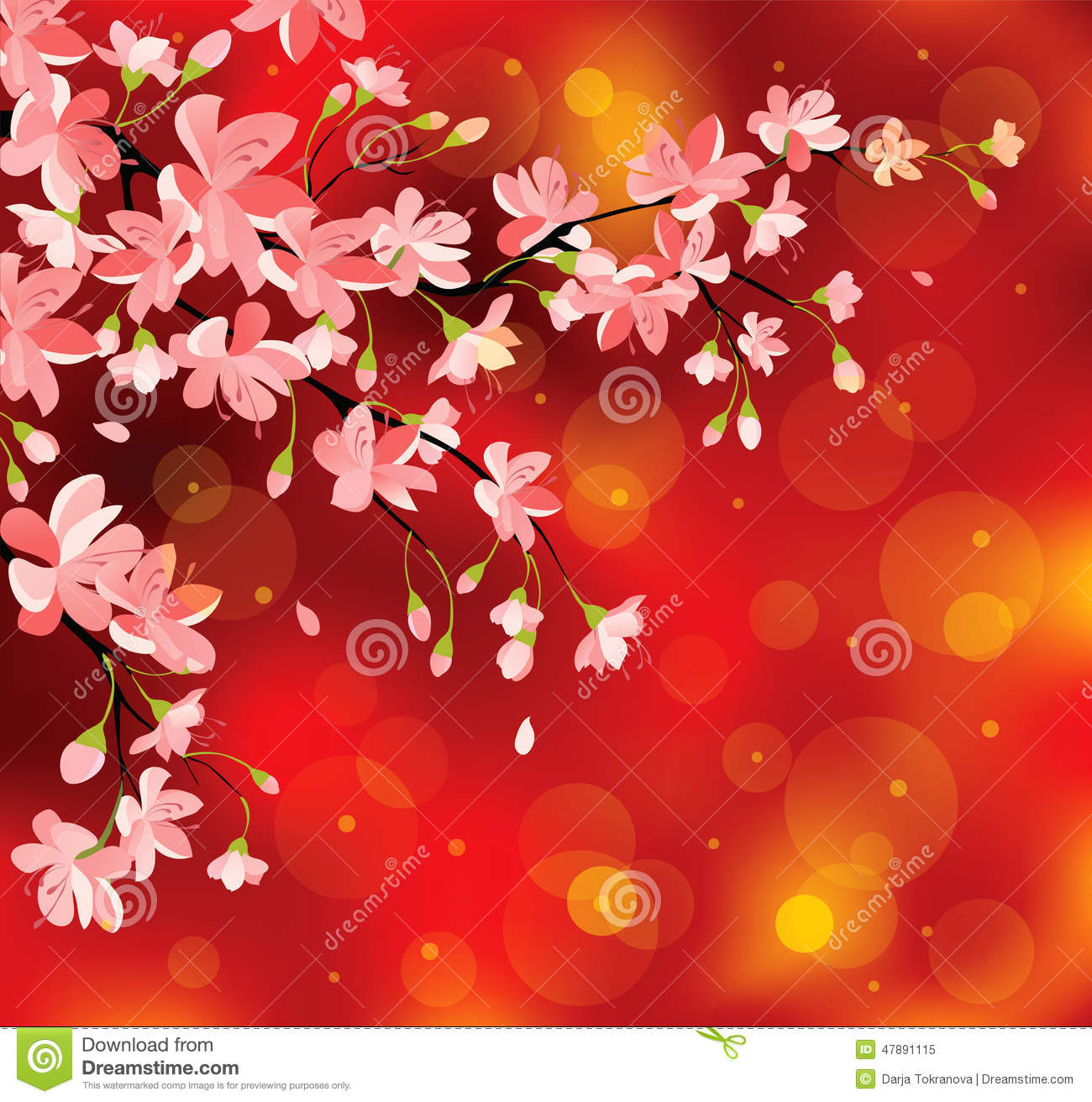chinese new year flowers stock vector - image: 47891115