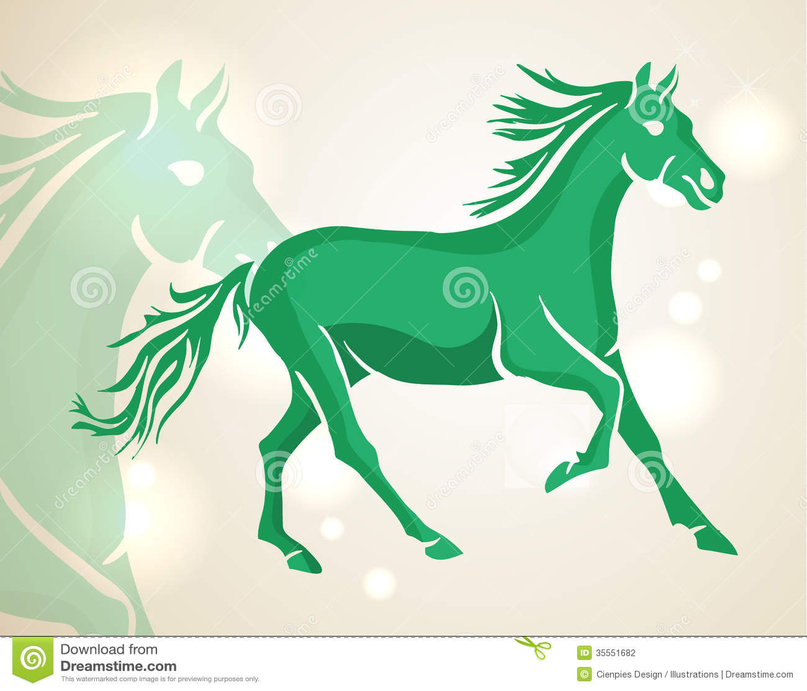 Chinese New Year Green Running Horse Stock