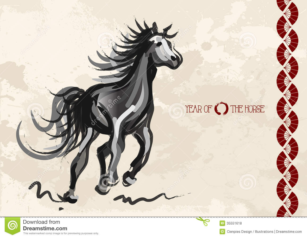 Chinese New Year Of Horse Postcard Stock Vector