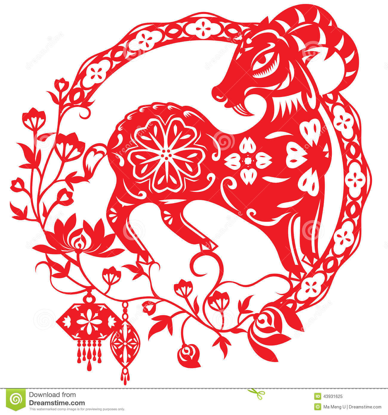 Chinese Year Of Lucky Sheep Lamb Stock Vector