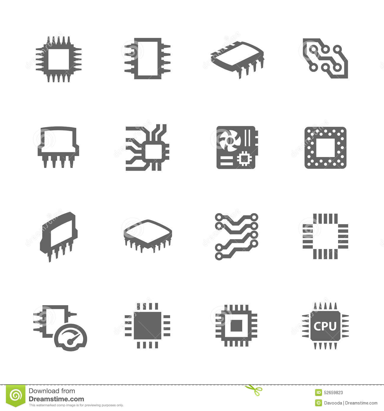 Chips And Microscheme Icons Stock Vector