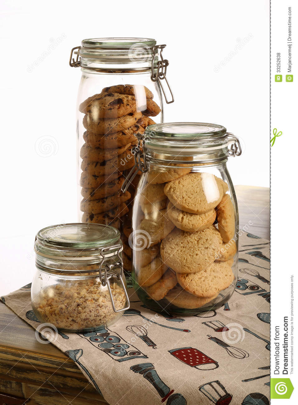 Chocolate And Lavender Cookies And Crushed Hazelnuts In A