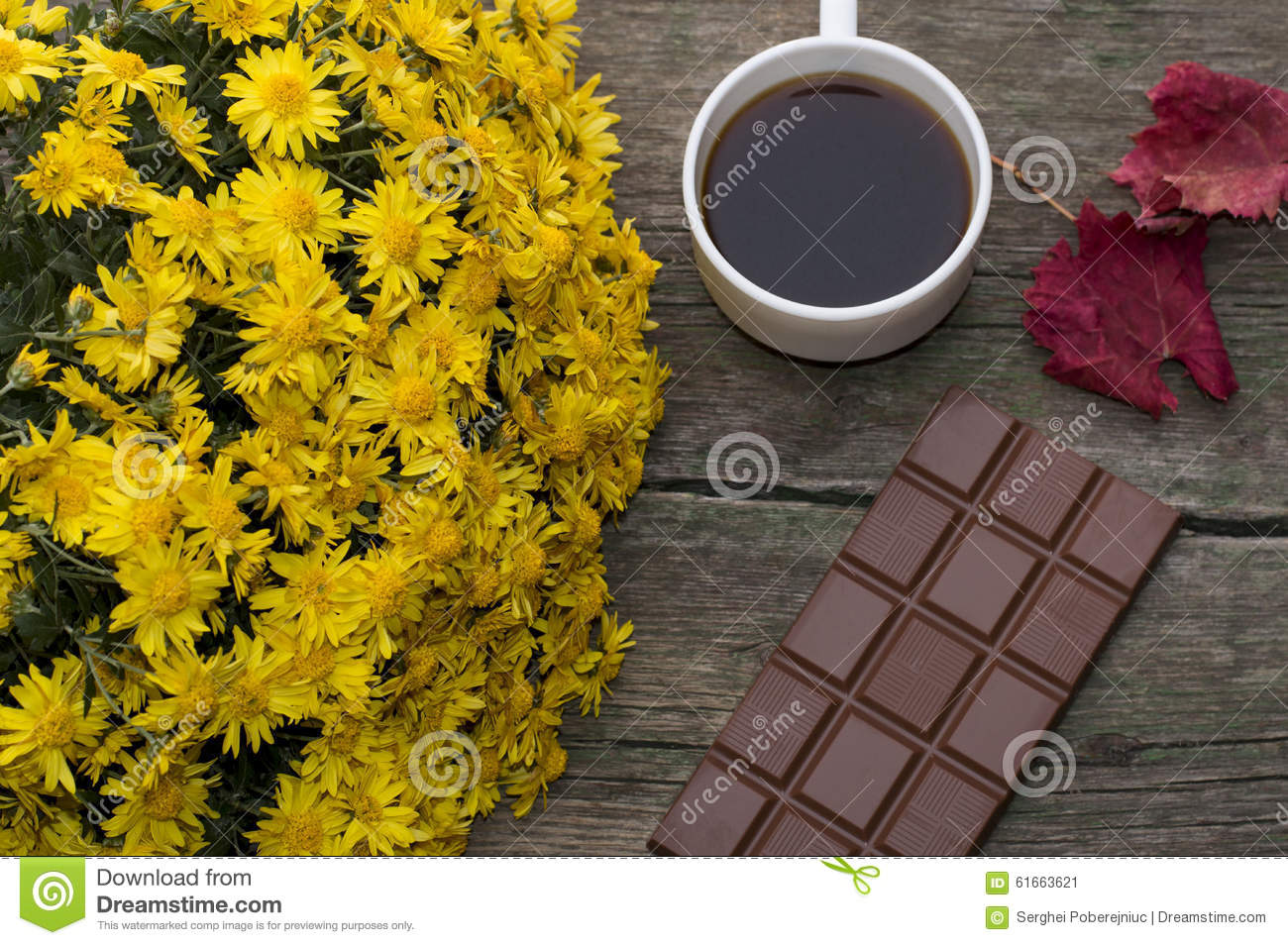 Chocolate Red Leaf Bouquet Of Yellow Flowers And Coffee