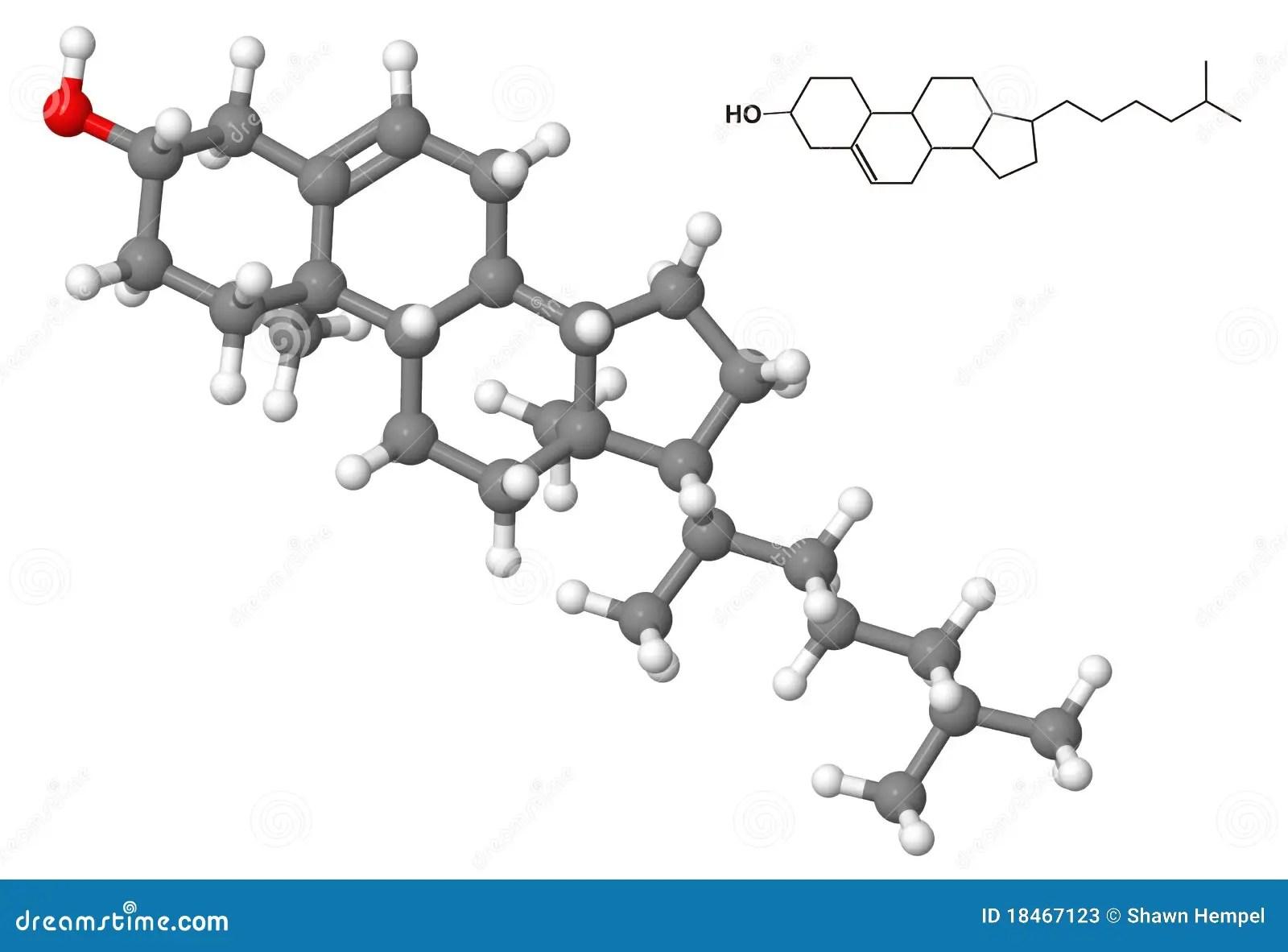 Cholesterol Molecule With Chemical Formula Stock Illustration