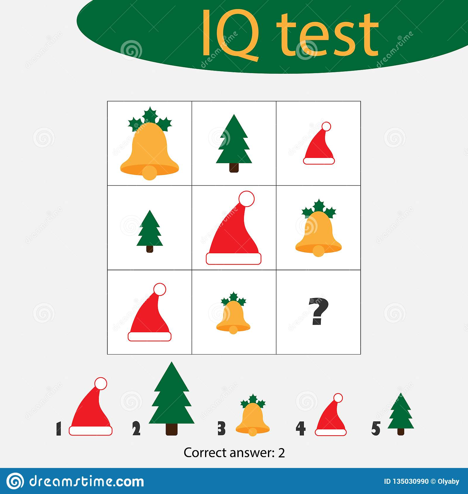 Choose Correct Answer Iq Test With Christmas Picturees