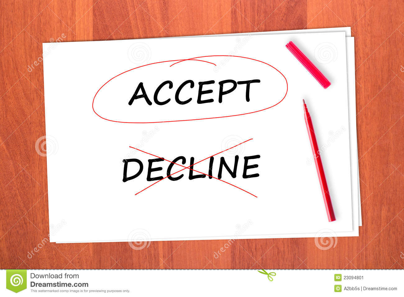 Chose The Word Accept Stock Image Image Of Handwritten