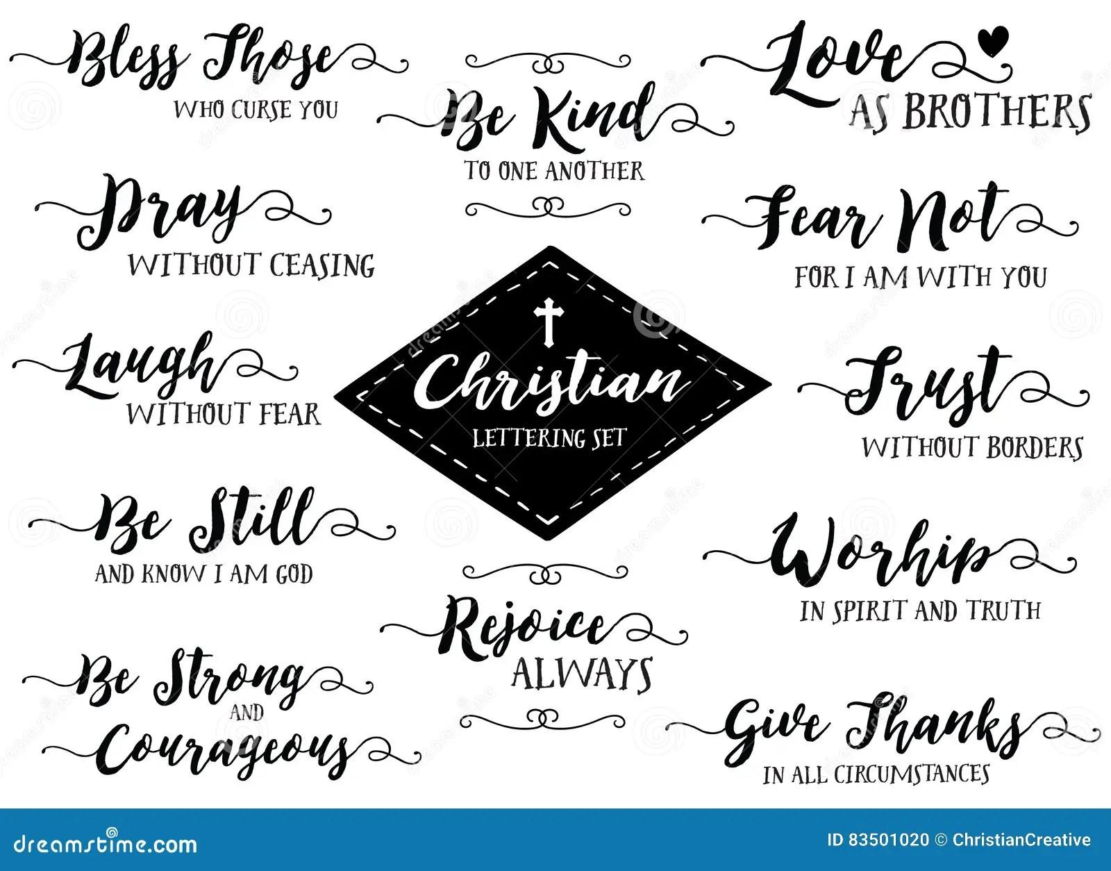 Christian Hand Lettering Vector Set Black On White Stock