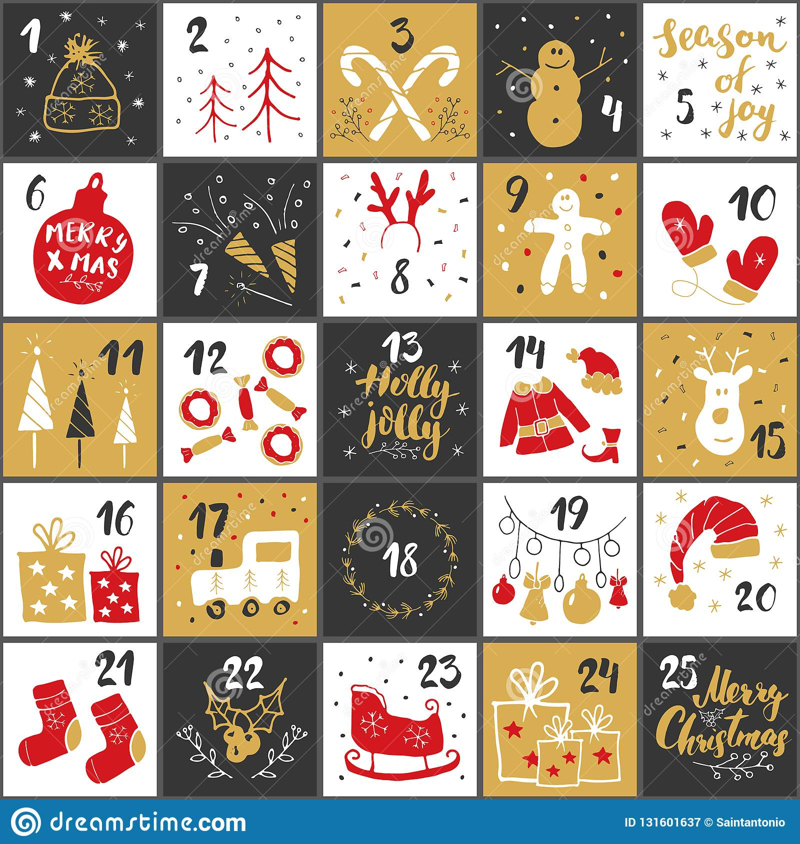 Christmas Advent Calendar Hand Drawn Elements And Numbers