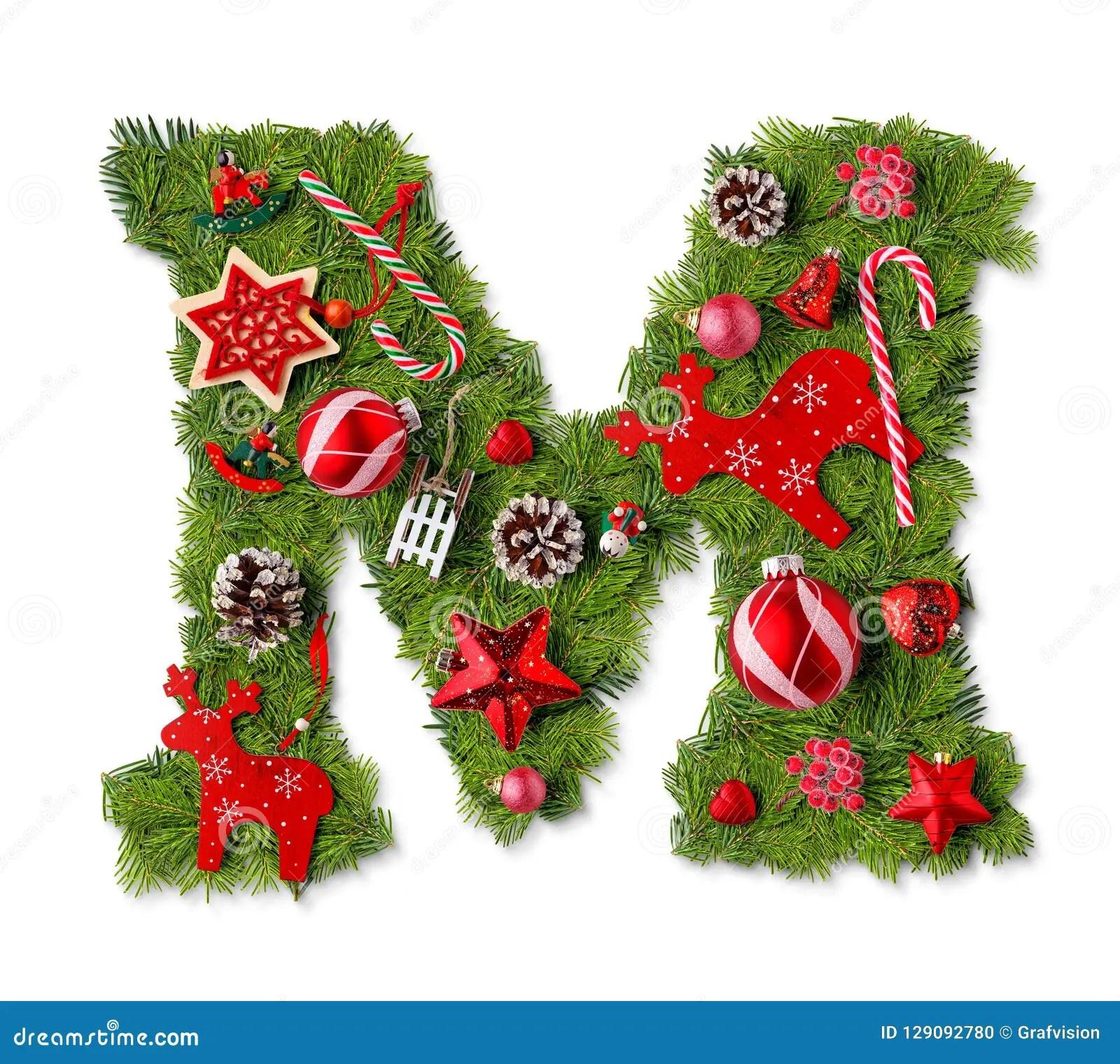 Christmas Alphabet Letter M Stock Photo