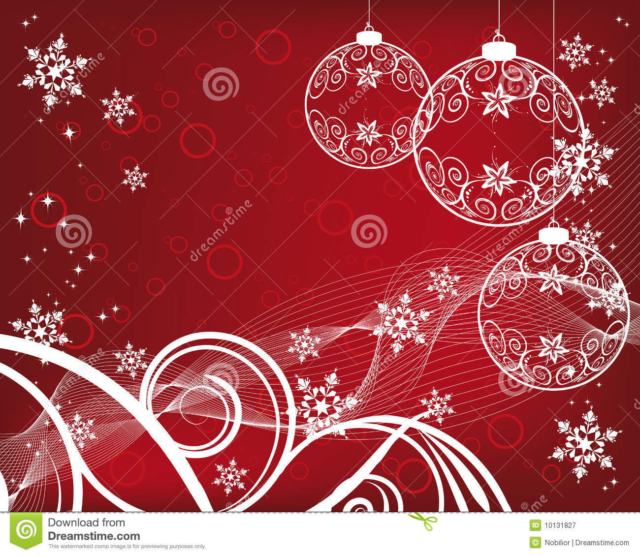 Christmas Background With Filigree Balls Stock Vector