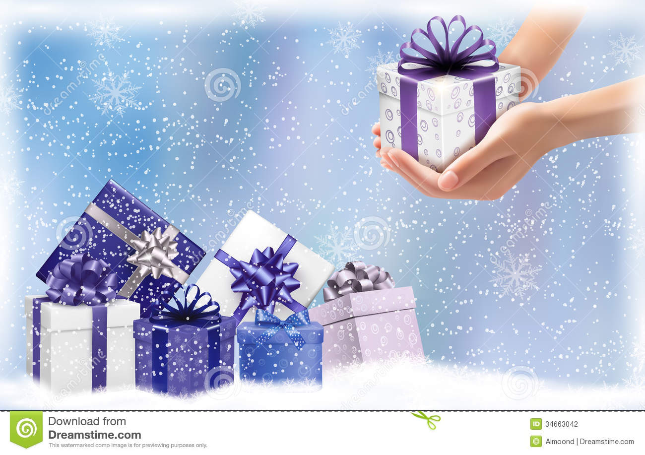 Christmas Background With Gift Boxes Concept Of G Stock