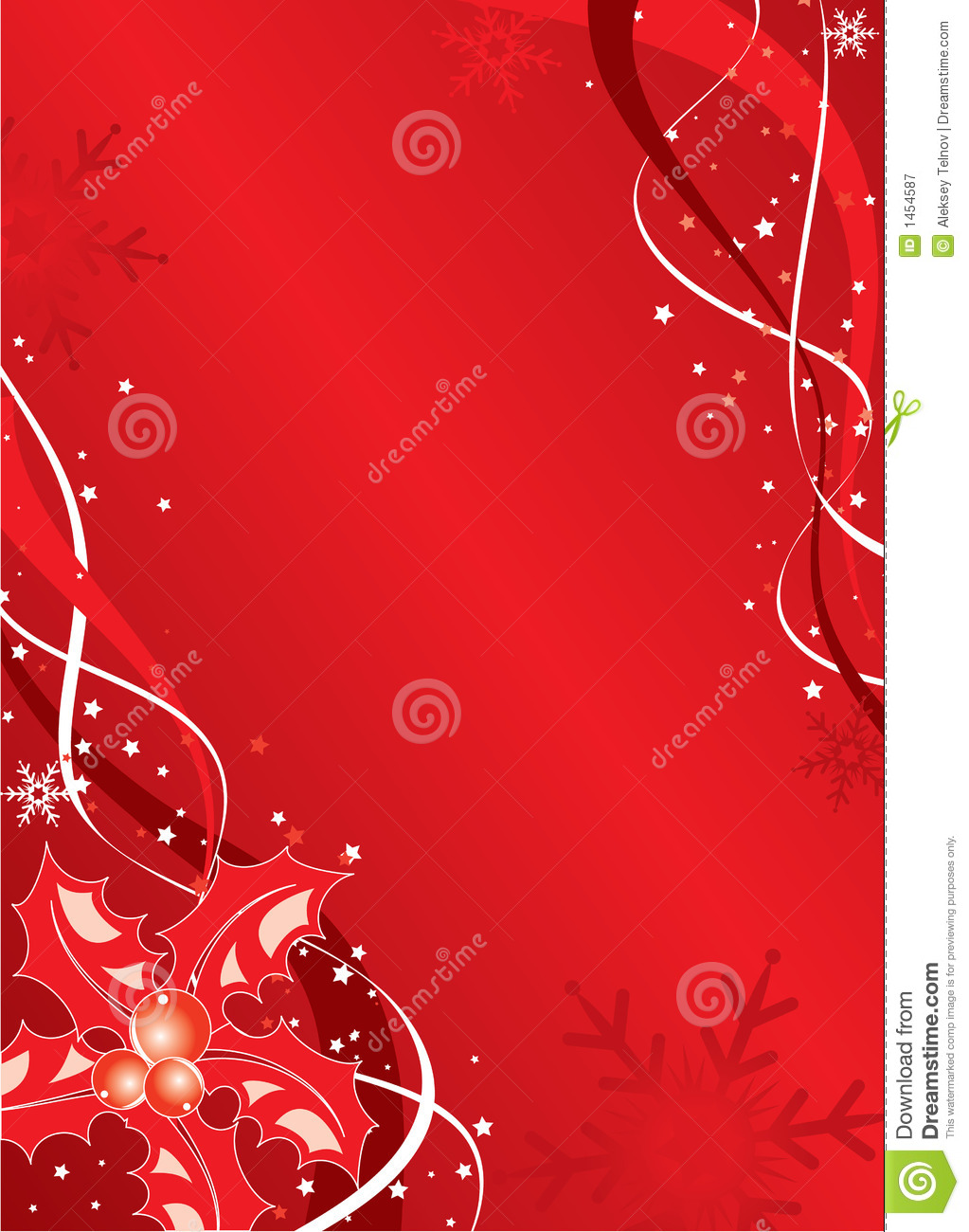 Christmas Background With Mistletoe And Snowflakes Vector