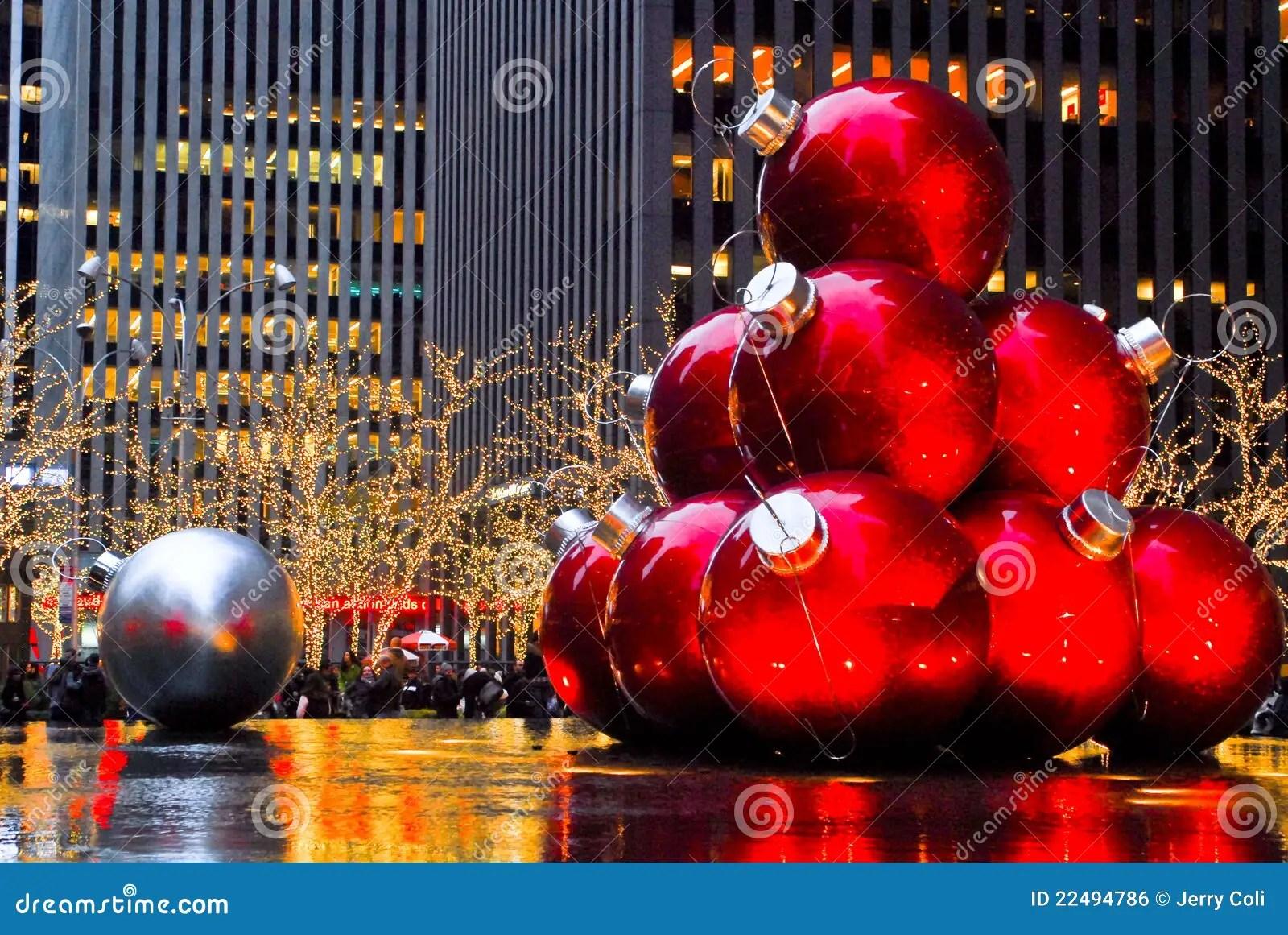 Christmas Balls In Manhattan NYC Editorial Photo Image