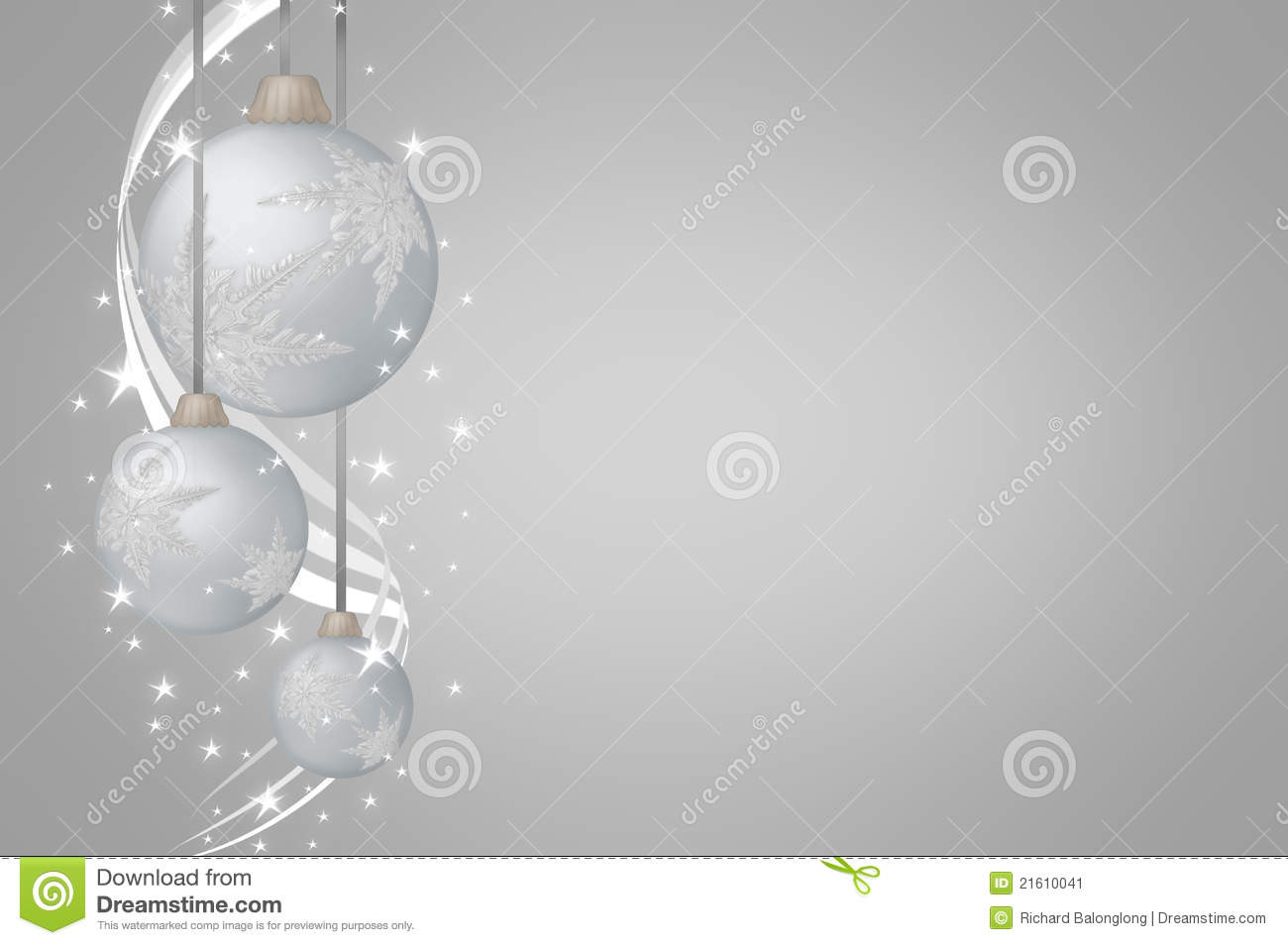 Christmas Balls Silver On Gray Background Stock Image