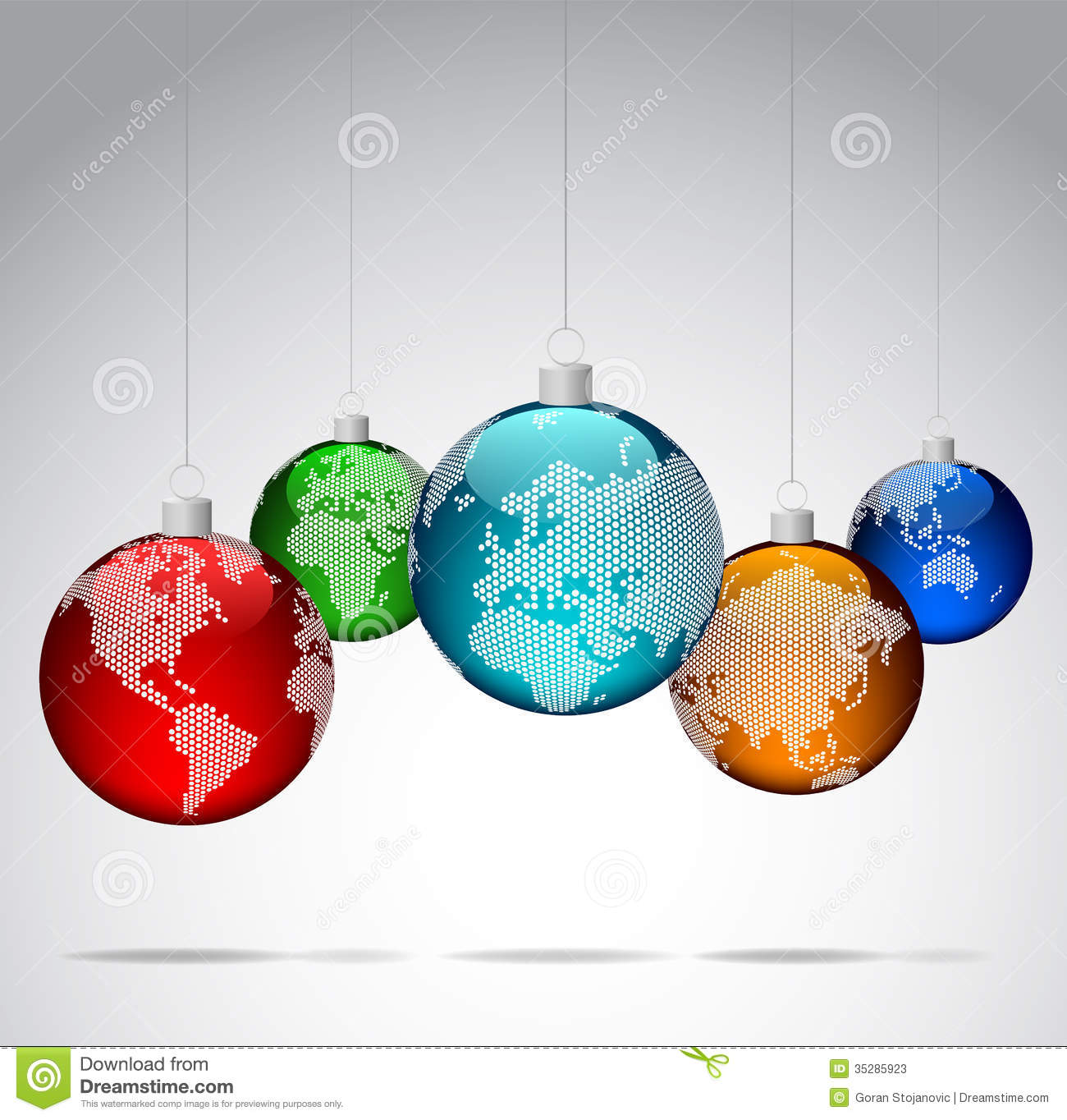 Christmas Balls With World Dotted Maps Stock Photos