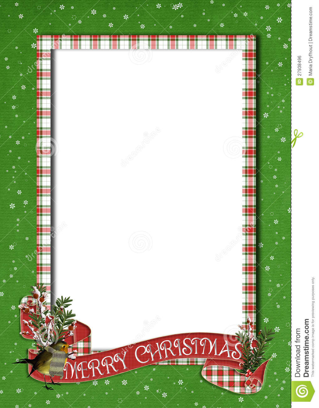 Christmas Banner On Plaid Border Stock Illustration