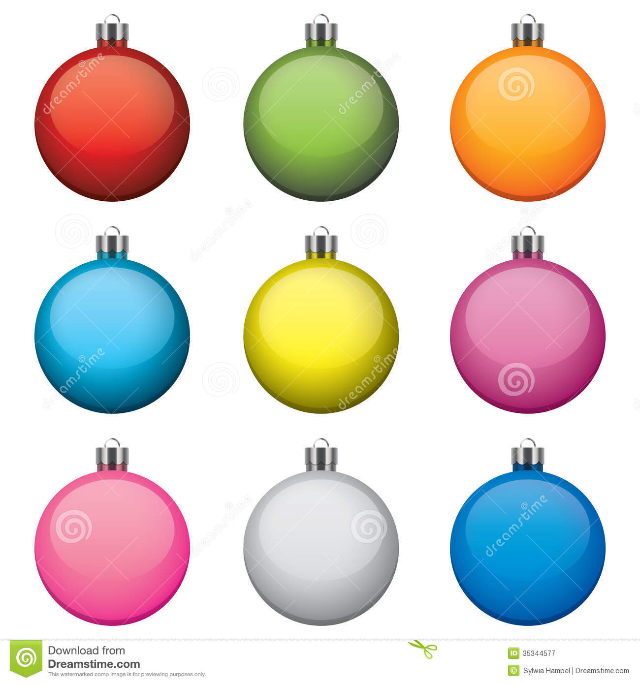 Christmas Baubles Different Colors And Patterns Royalty