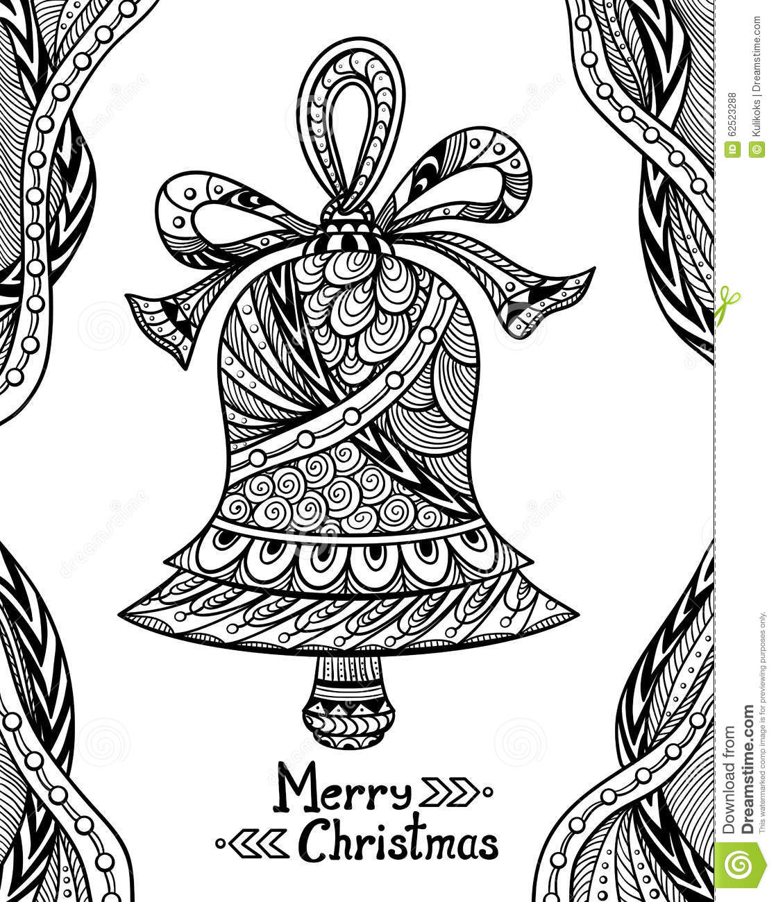 Christmas Bell In Zen Doodle Style Black On White Stock