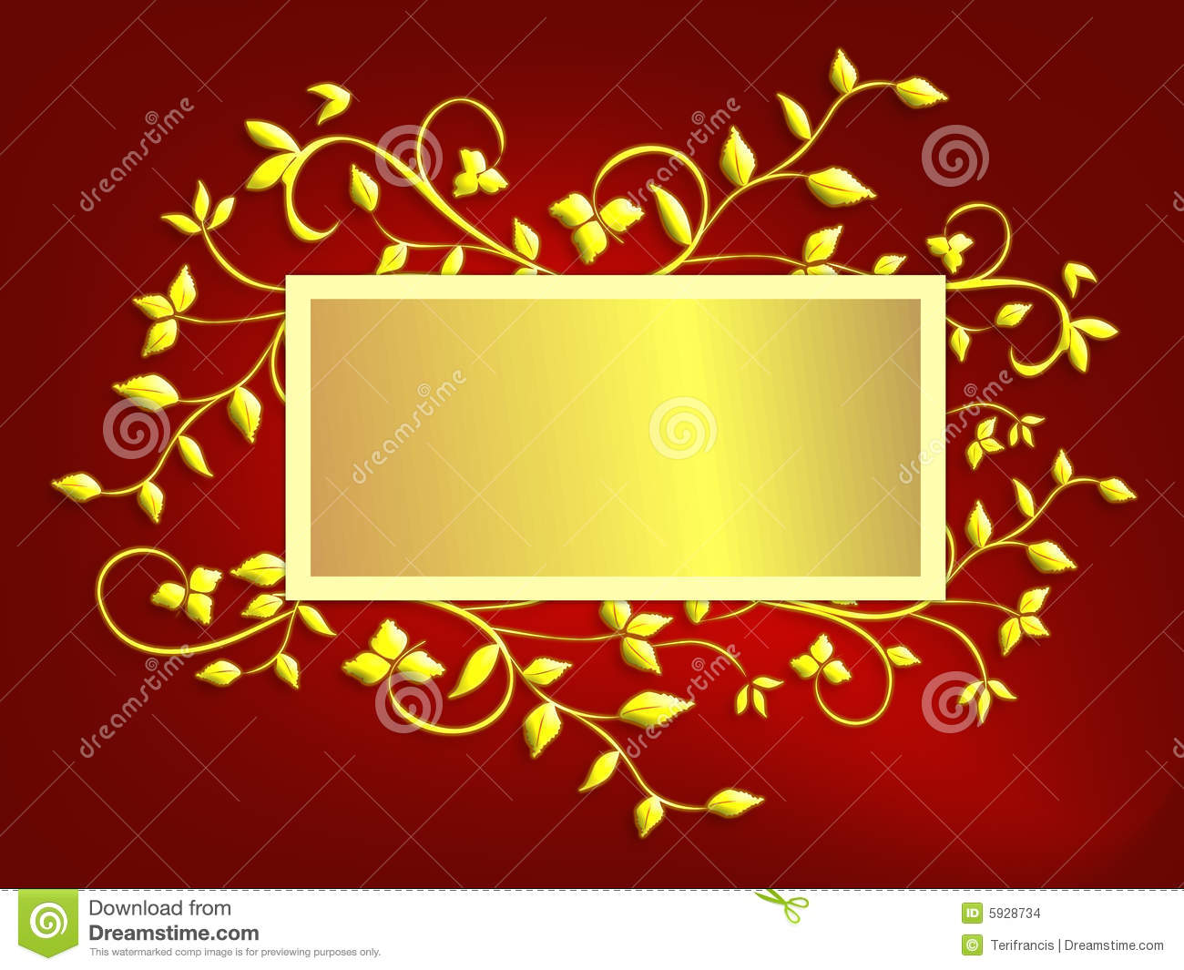 Christmas Card Background Red And Gold Stock
