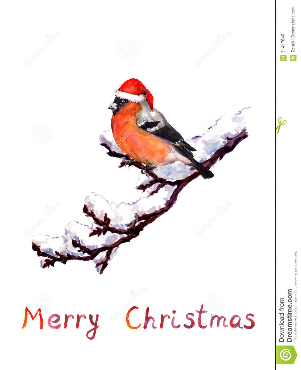 Christmas Card Bird In Red Hat At Branch With Snow