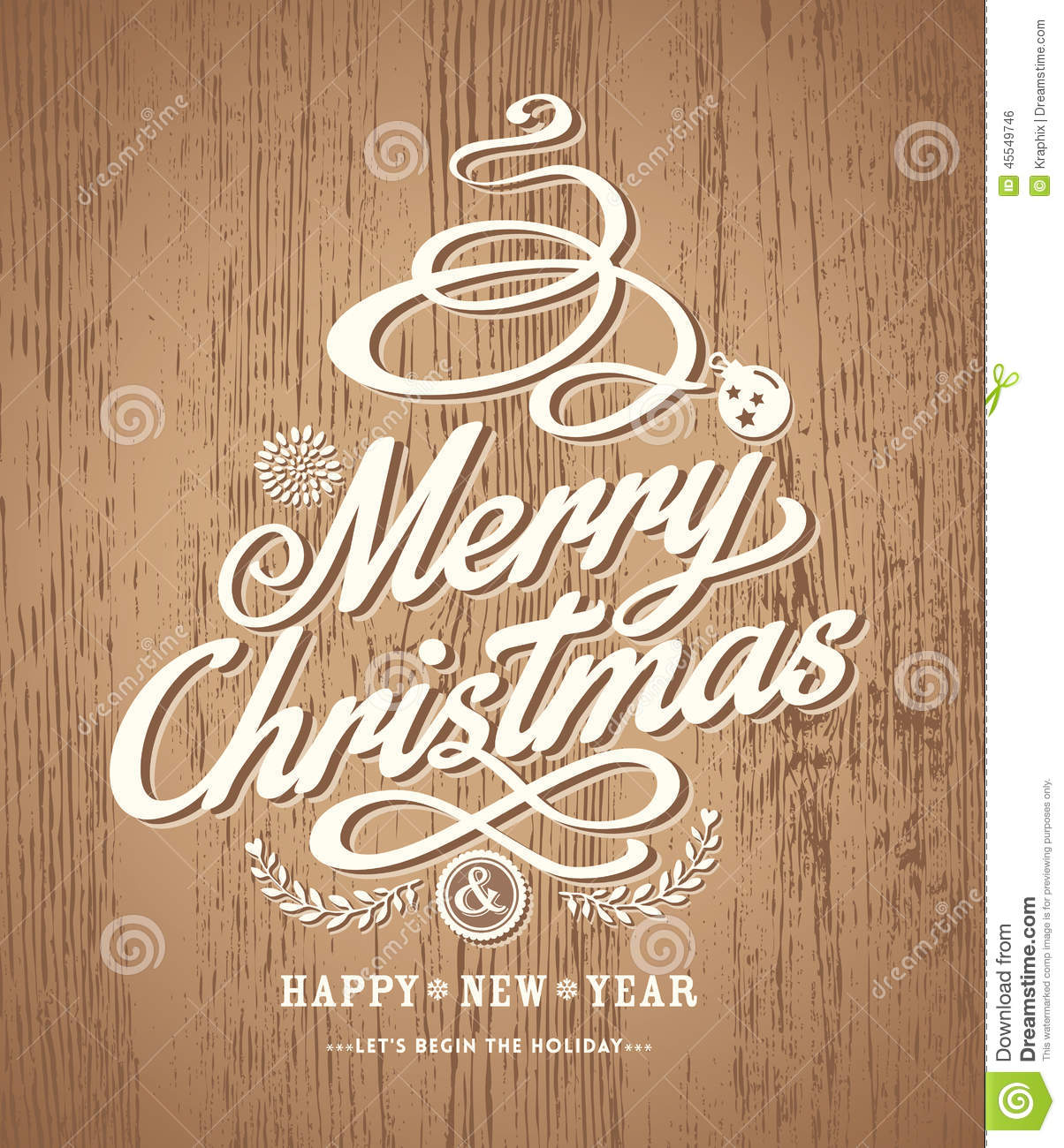 Christmas Card Design On Wood Texture Background Stock