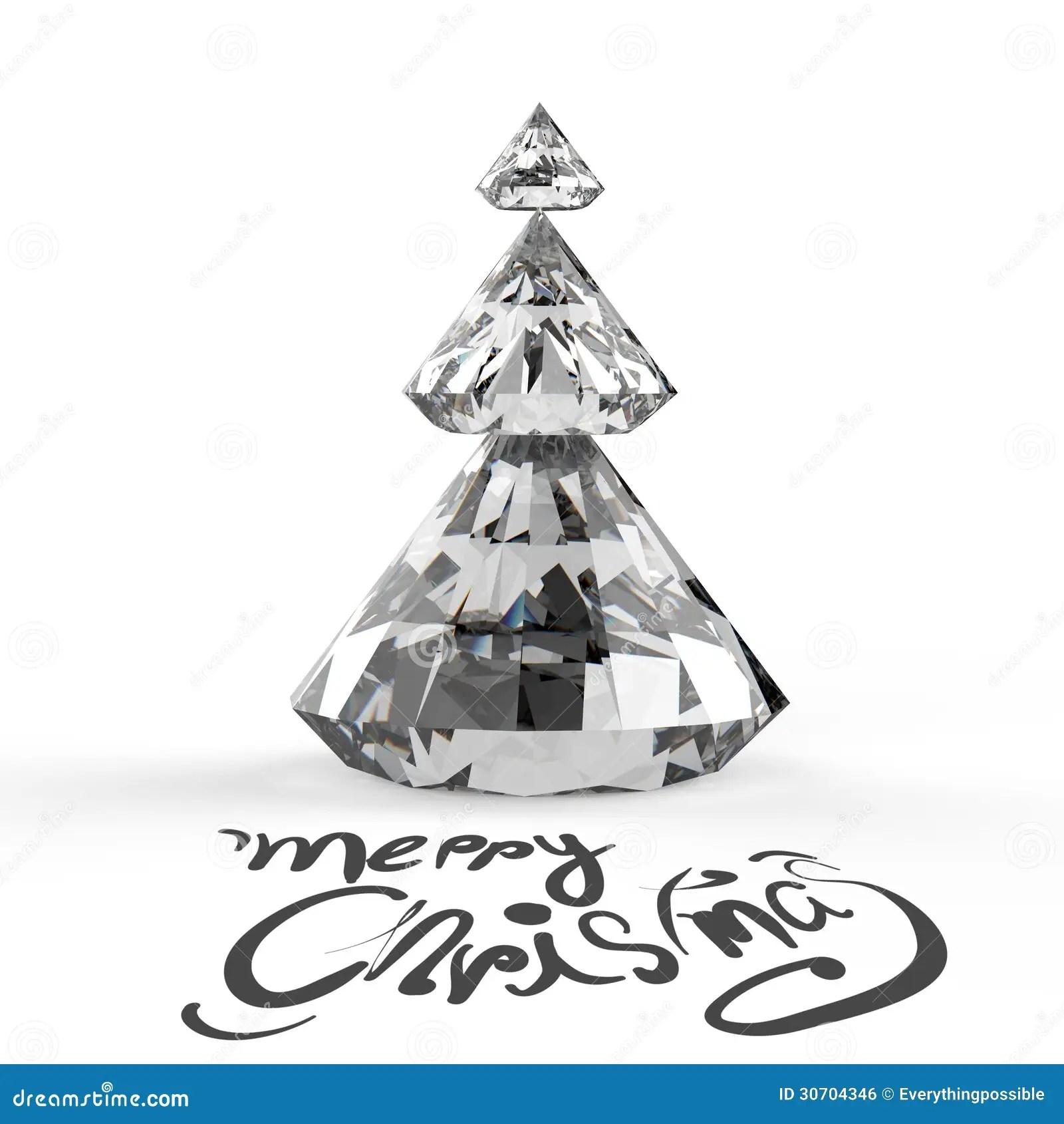 Christmas Card With Diamonds Christmas Tree Stock Photo