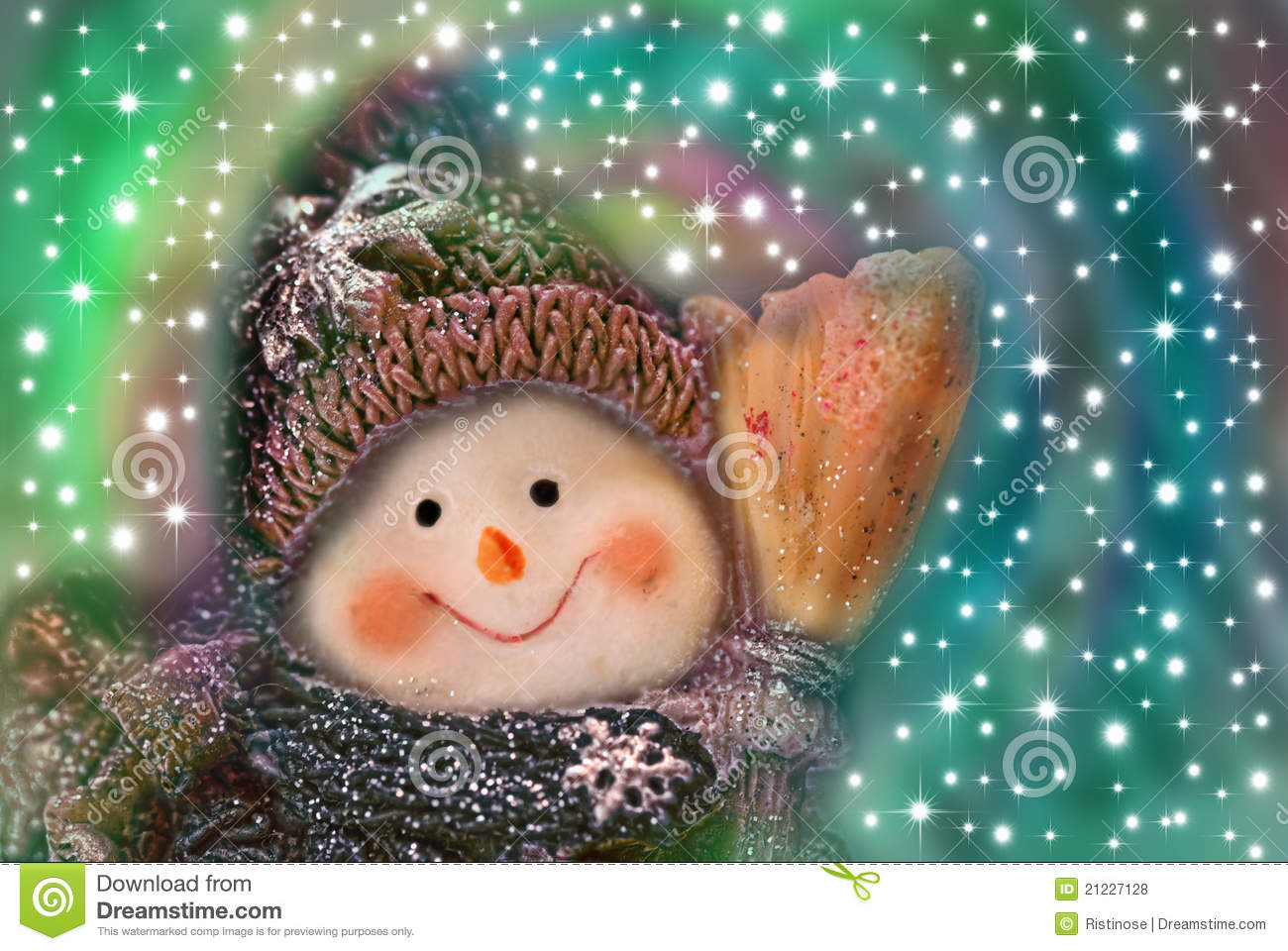 Christmas Card Funny Snowman Stock Photo Image 21227128
