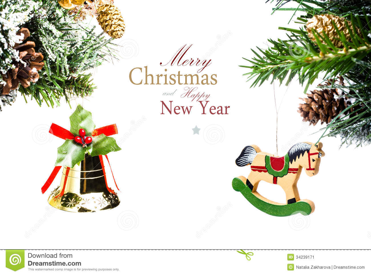 Christmas Card With Golden Bell And Wooden Horse With