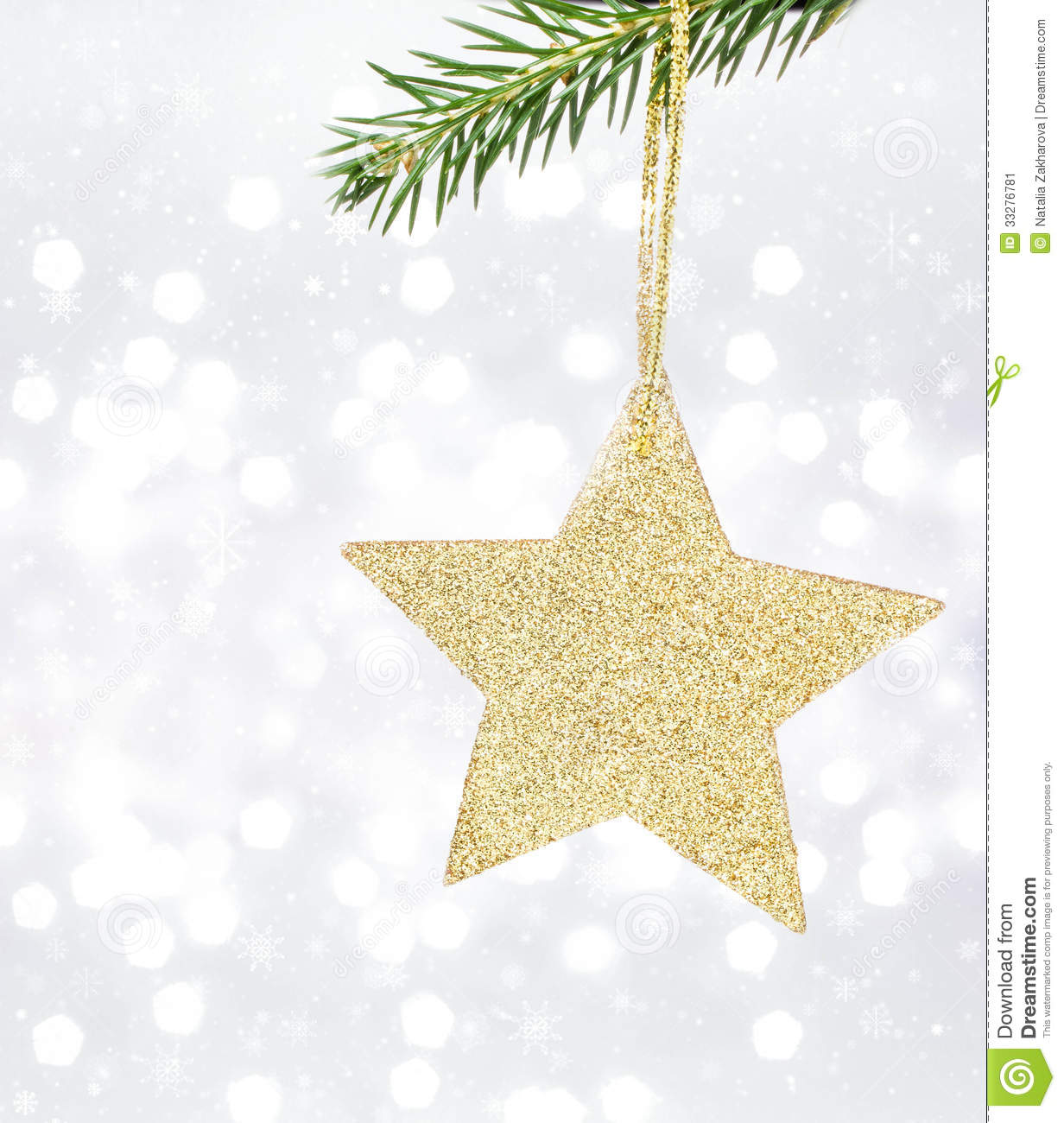 Christmas Card With Golden Star And Pine Branch On