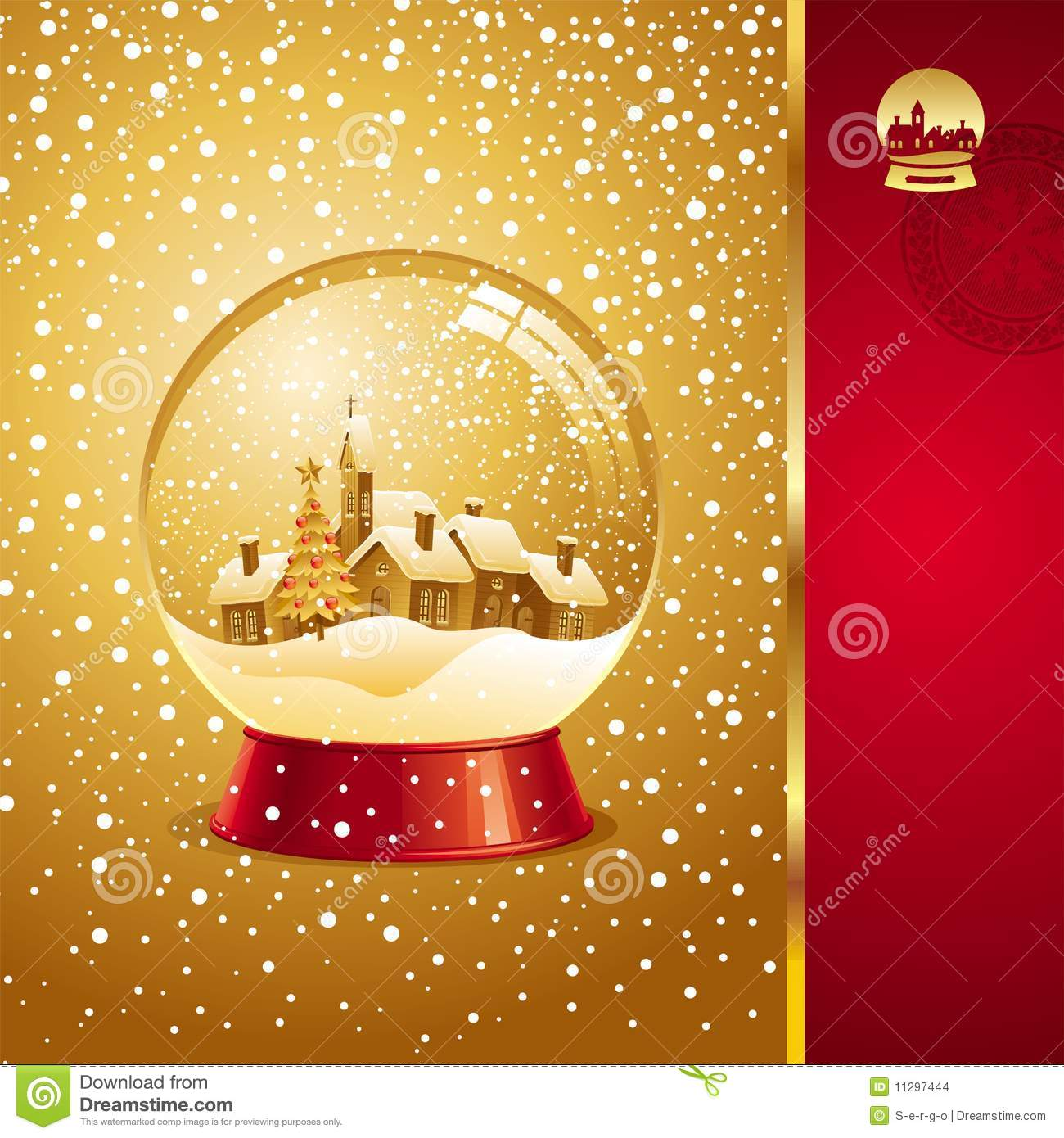 Christmas Card With Snow Globe Stock Vector Image 11297444