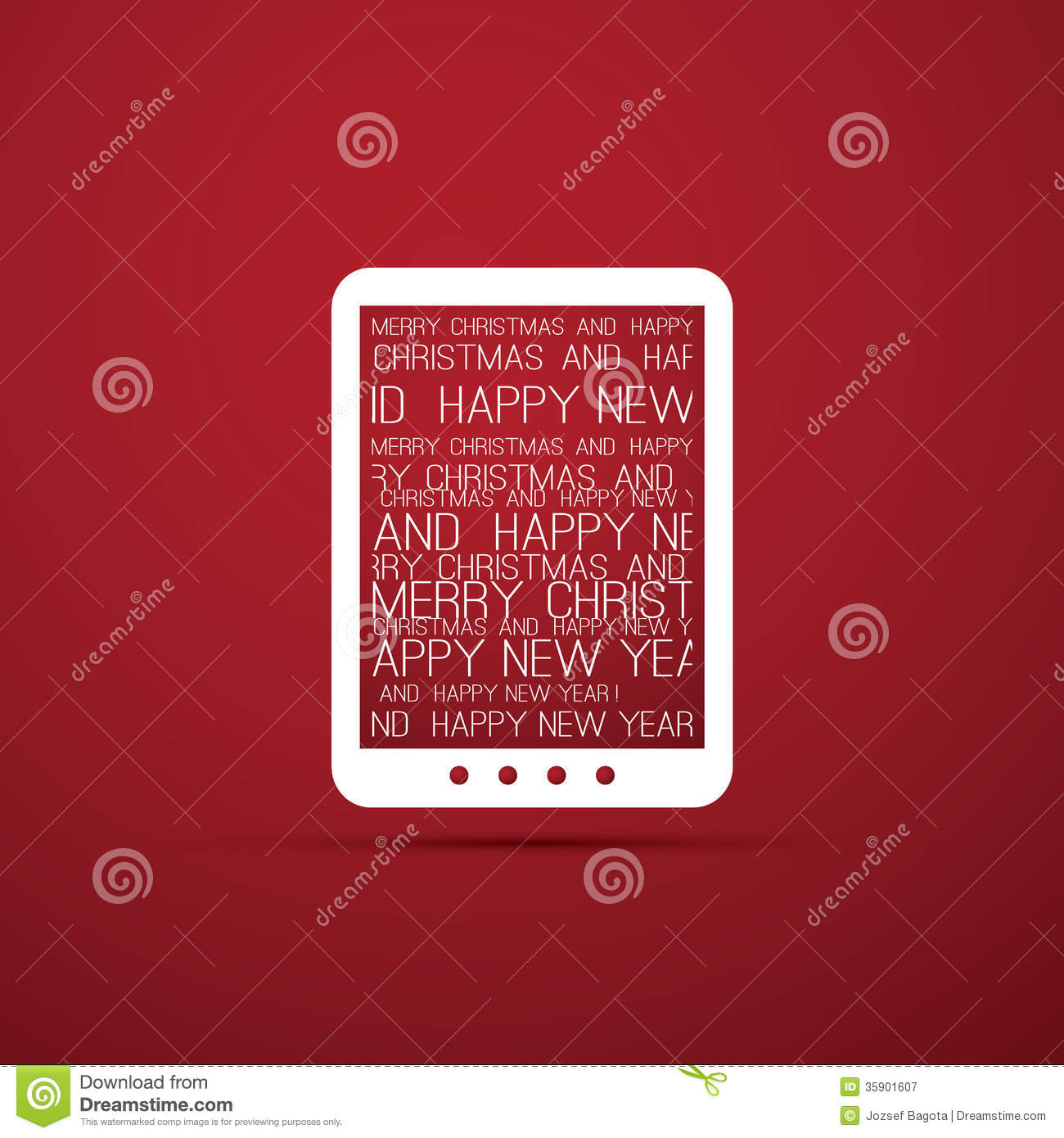Christmas Card With Tablet E Book Reader Royalty Free Stock Photography Image 35901607