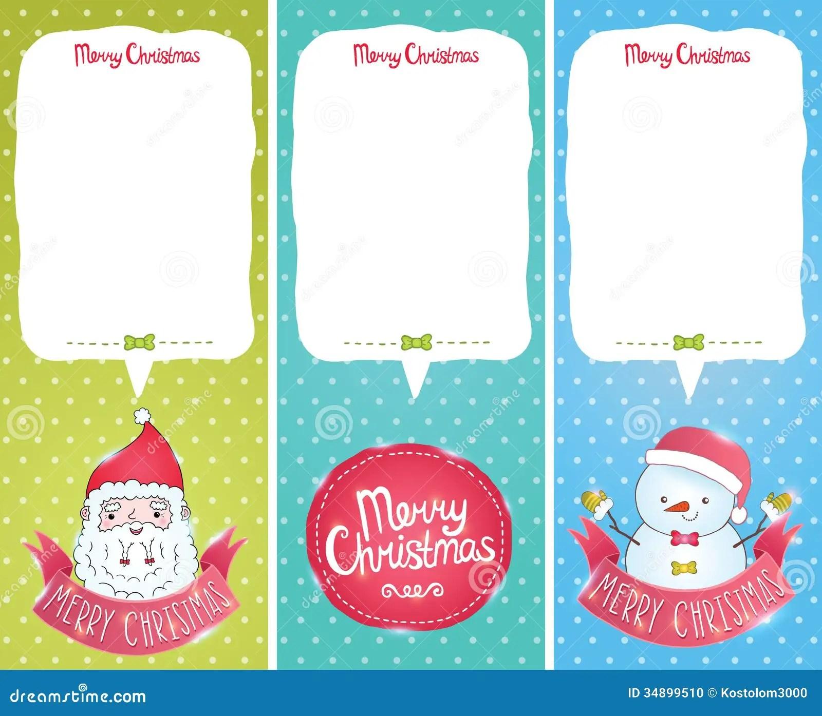 Christmas Cards With Santa Claus Snowman Stock Vector