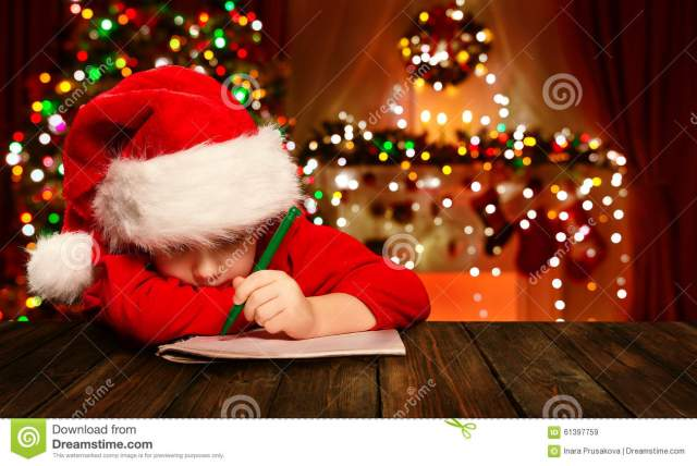 Christmas Child Write Letter Santa Claus, Kid In Hat Writing Stock