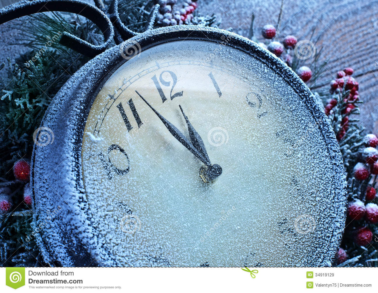 Christmas Clock Over Snow Wooden Background Stock Image