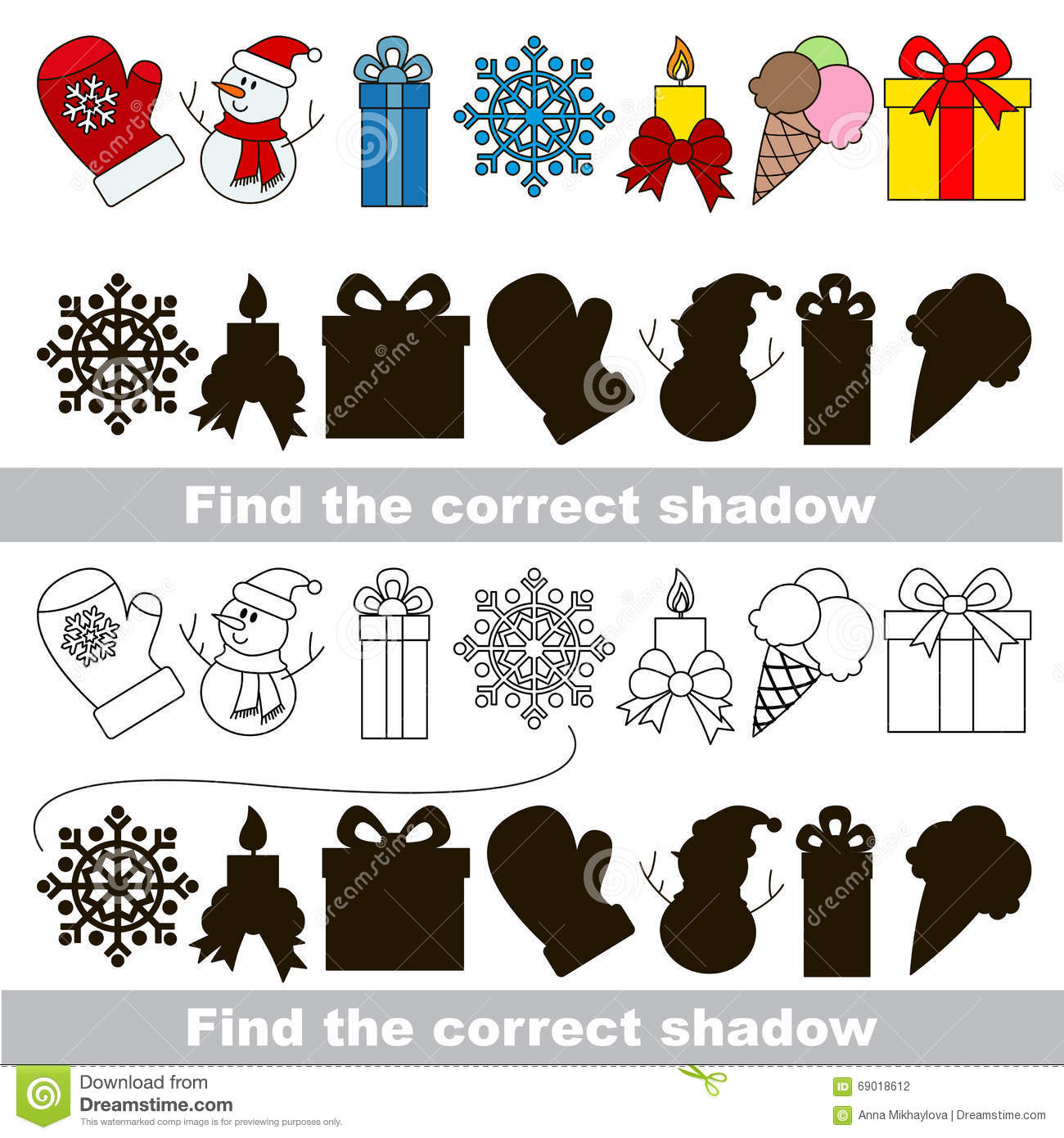 Christmas Collection Find Correct Shadow Stock Vector